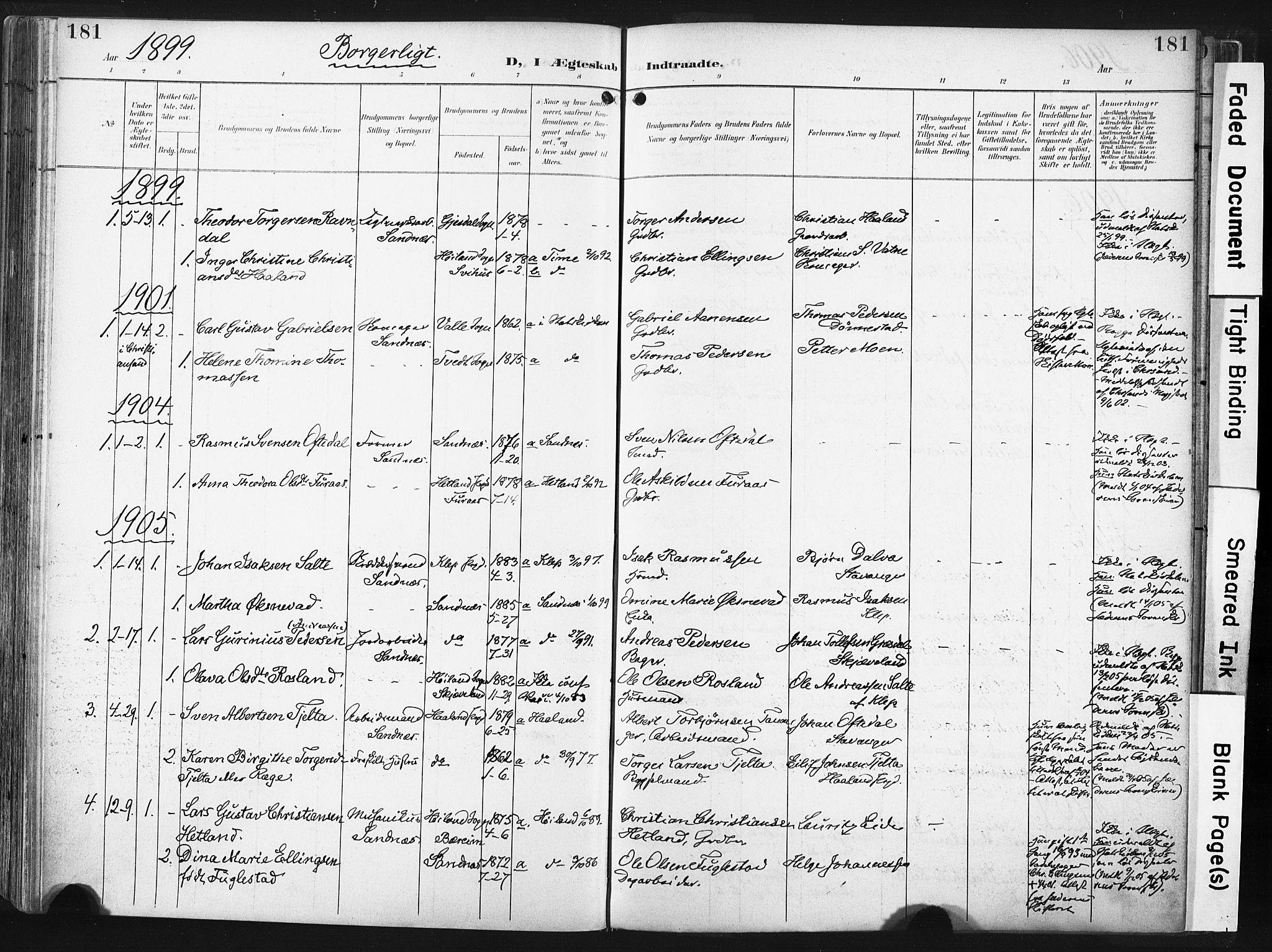 SAST, Høyland sokneprestkontor, 30BA/L0016: Parish register (official) no. A 16, 1899-1911, p. 181