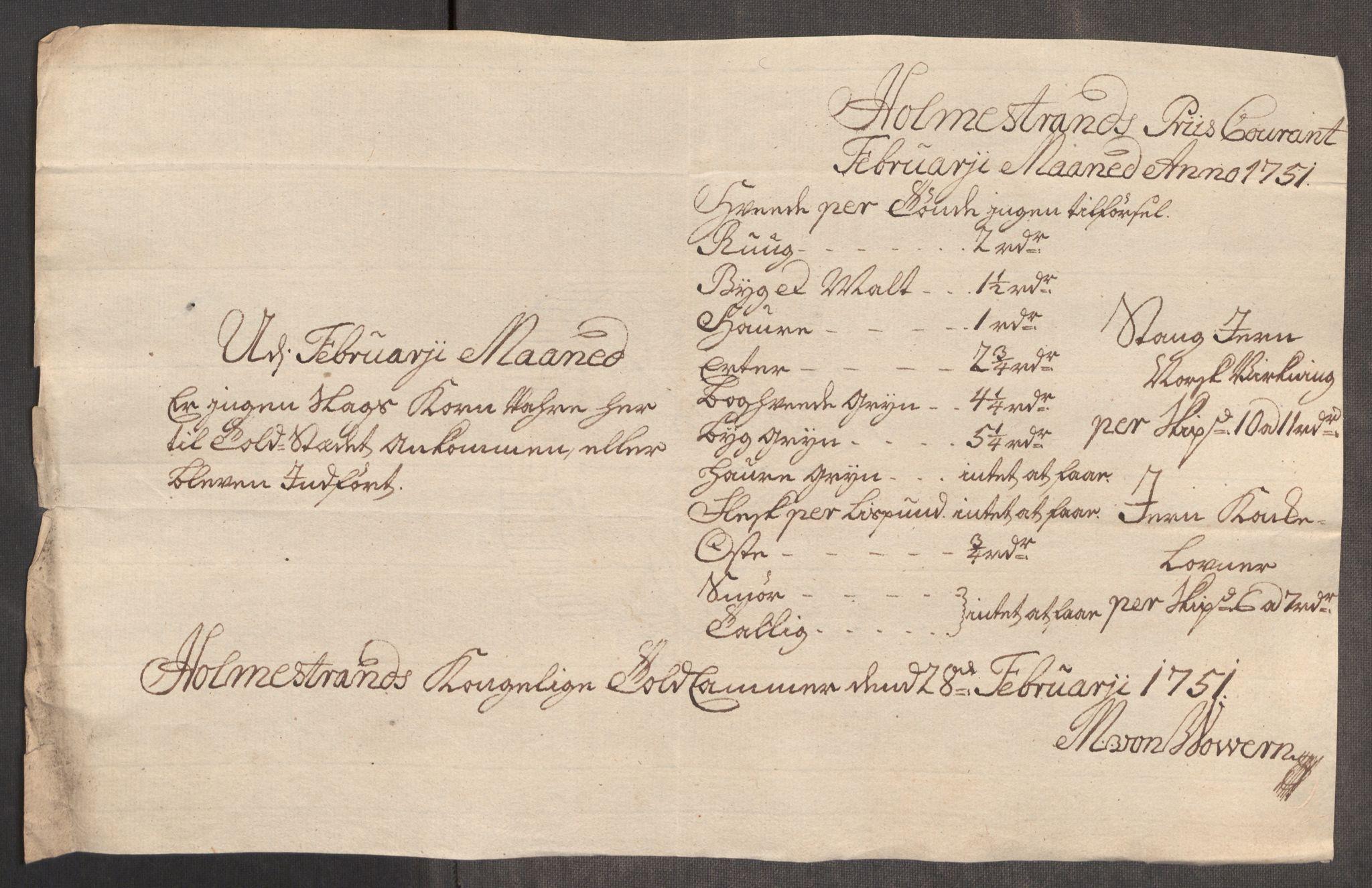 RA, Rentekammeret inntil 1814, Realistisk ordnet avdeling, Oe/L0004: [Ø1]: Priskuranter, 1749-1752, p. 569