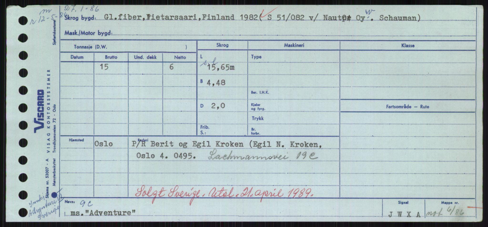 RA, Sjøfartsdirektoratet med forløpere, Skipsmålingen, H/Hd/L0001: Fartøy, A-Anv, p. 103