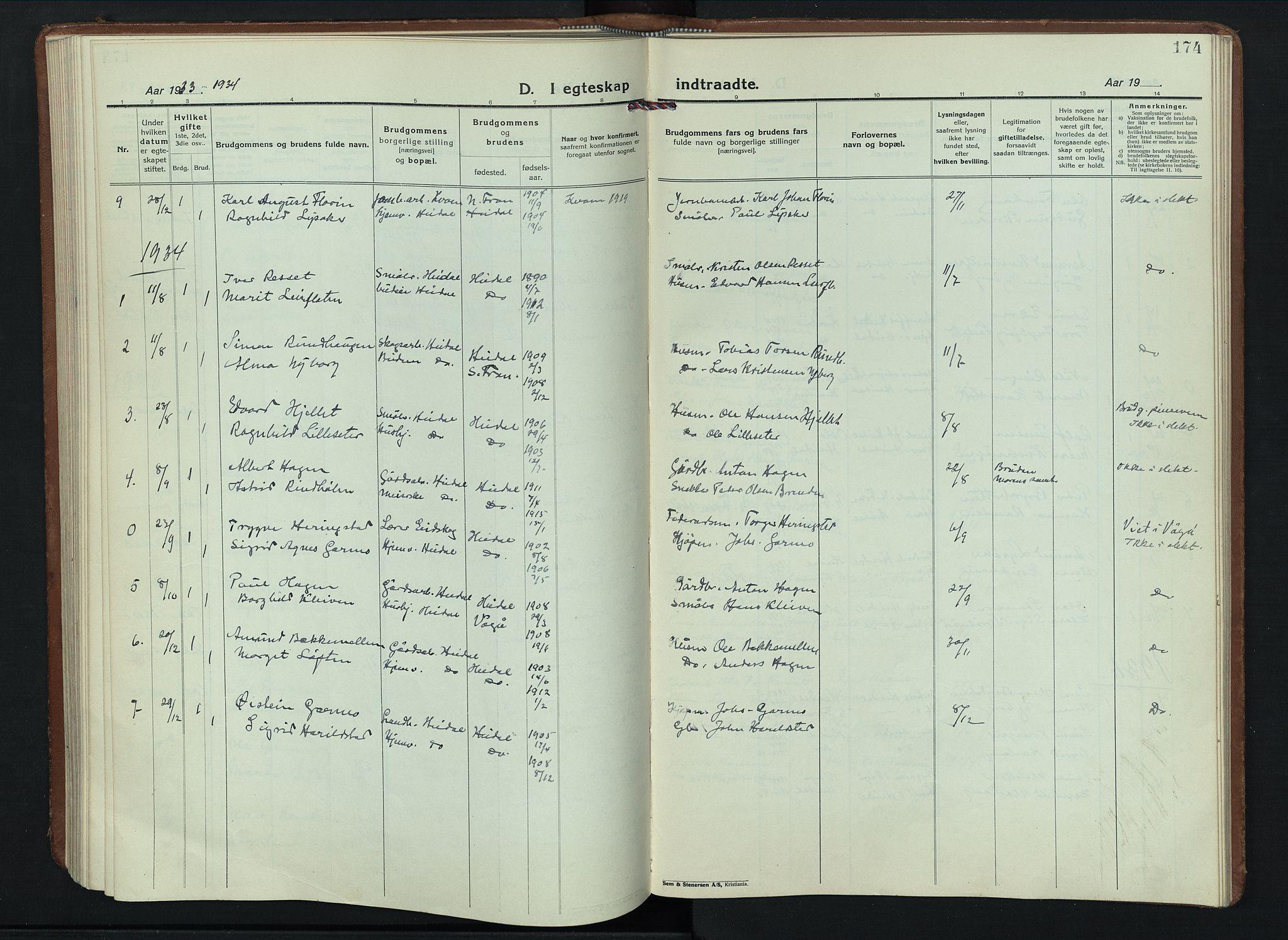 SAH, Sel prestekontor, Parish register (copy) no. 6, 1923-1953, p. 174