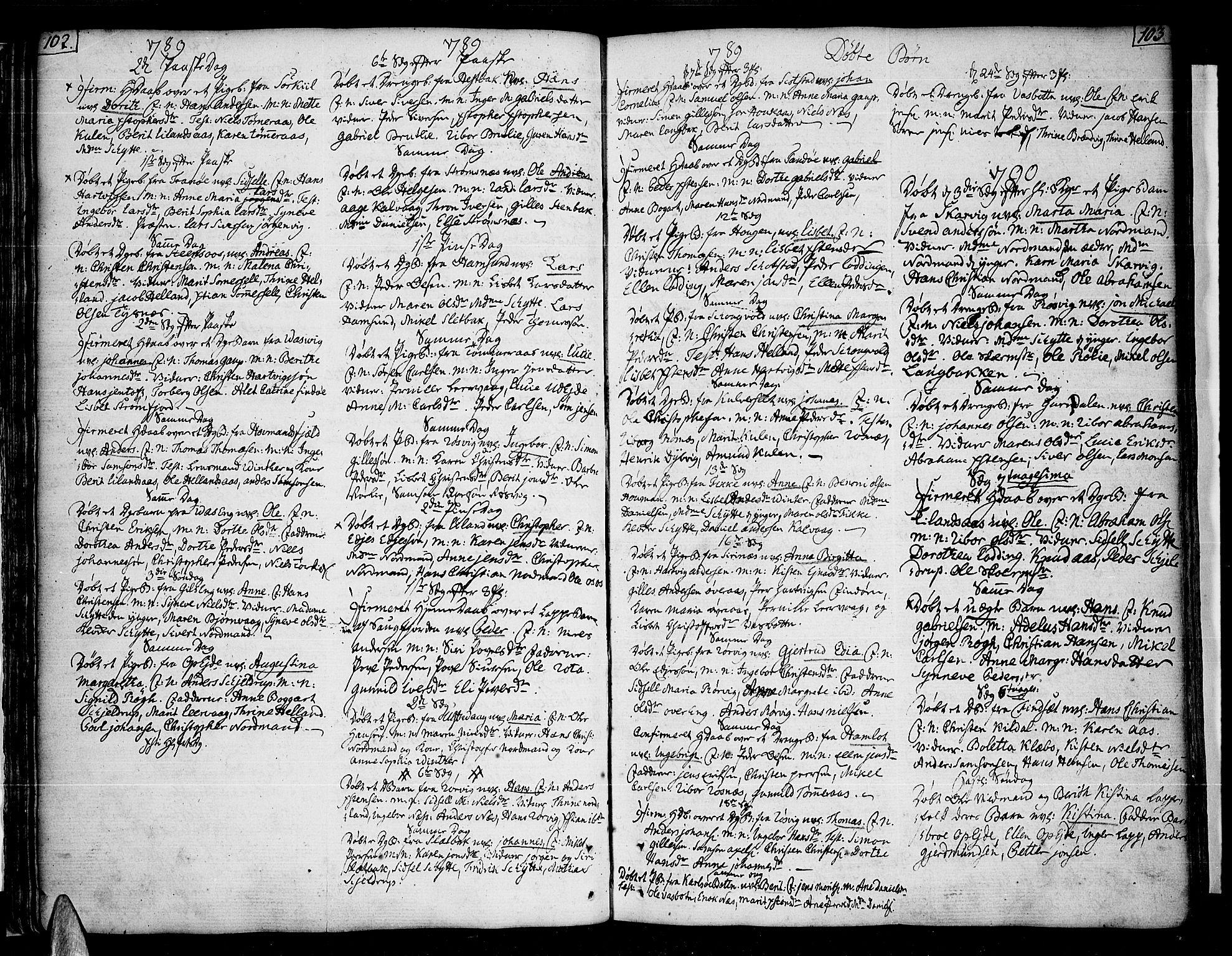 SAT, Ministerialprotokoller, klokkerbøker og fødselsregistre - Nordland, 859/L0841: Parish register (official) no. 859A01, 1766-1821, p. 102-103