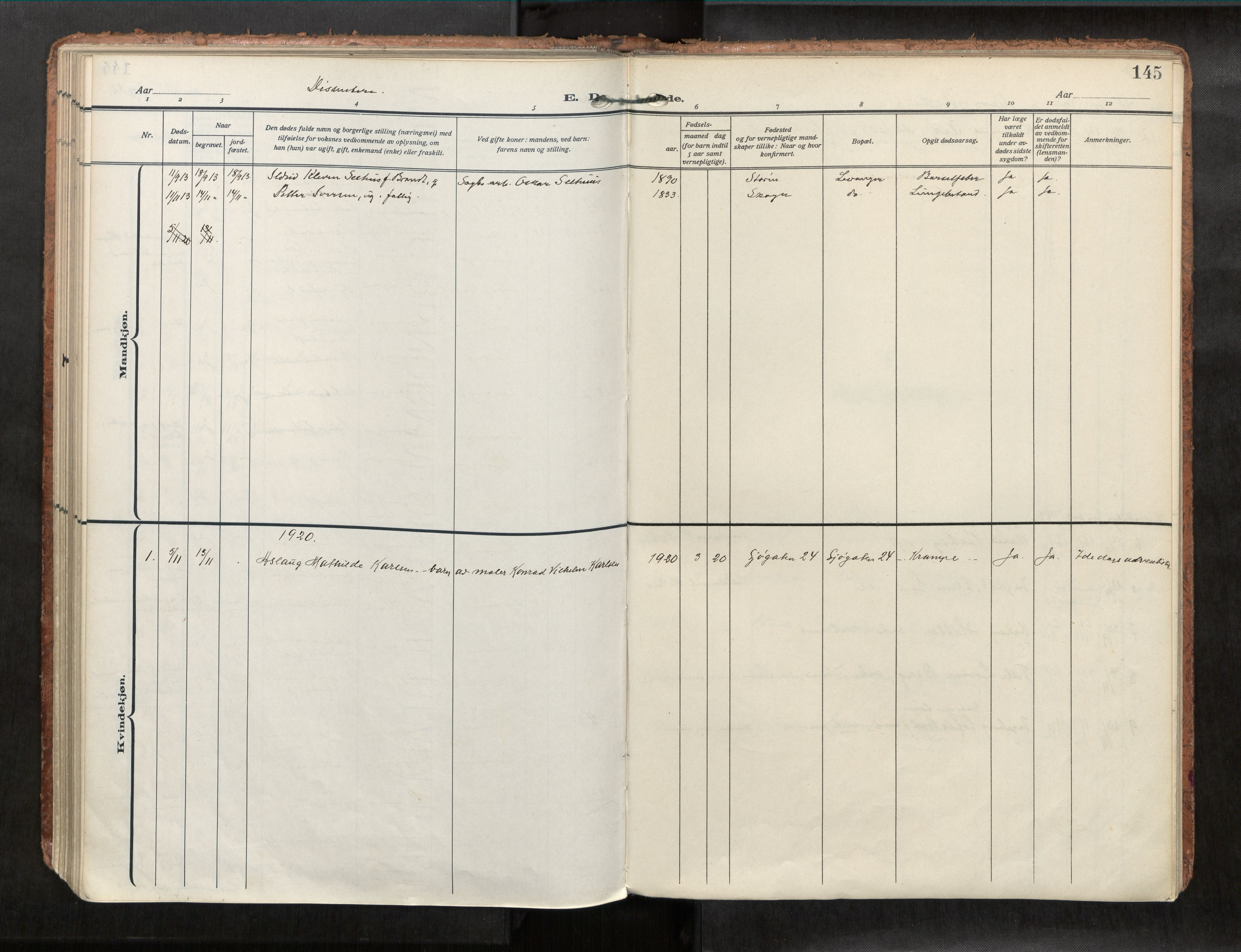 SAT, Levanger sokneprestkontor*, Parish register (official) no. 1, 1912-1932, p. 145