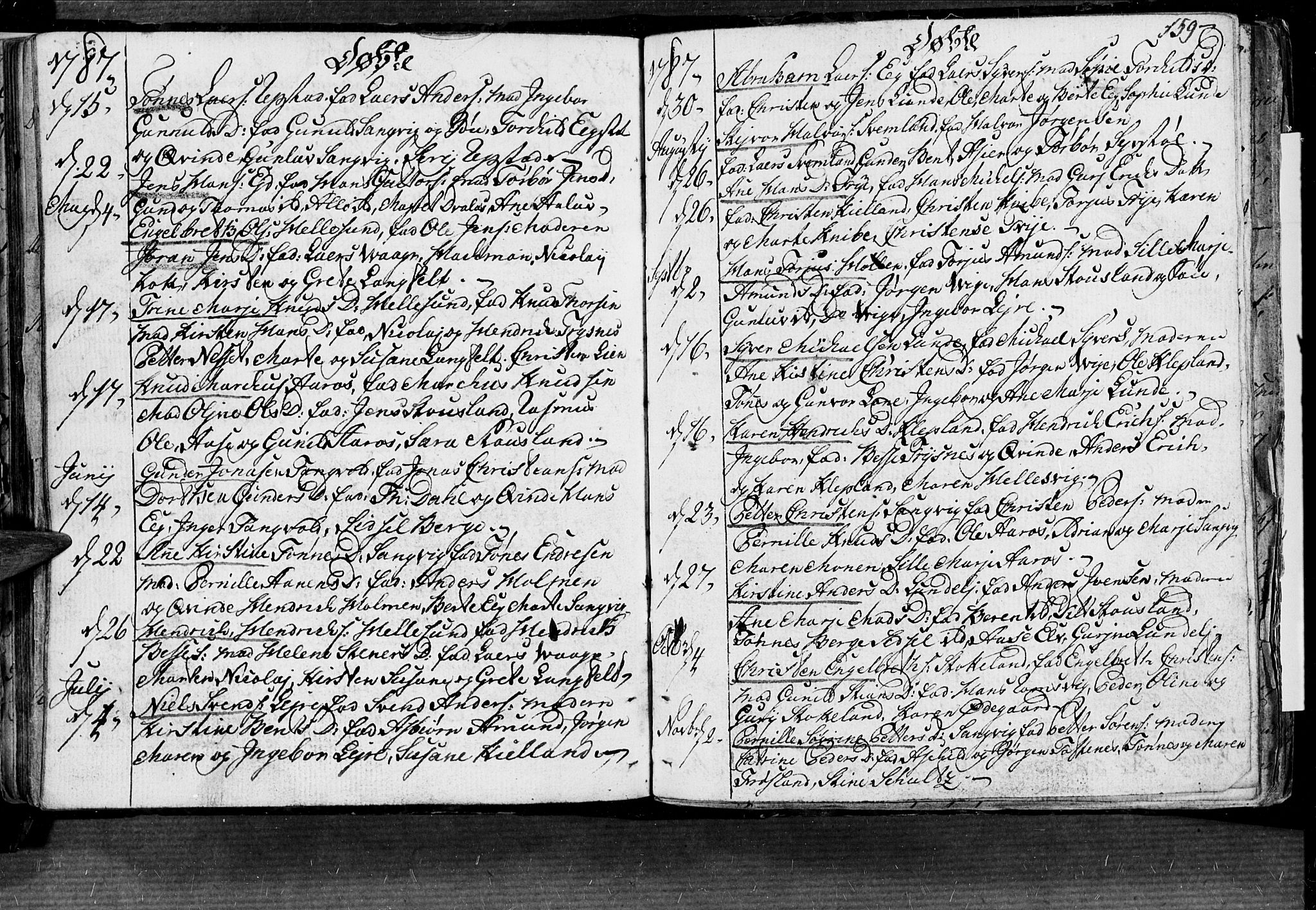 SAK, Søgne sokneprestkontor, F/Fa/Fab/L0004: Parish register (official) no. A 4, 1770-1822, p. 158-159