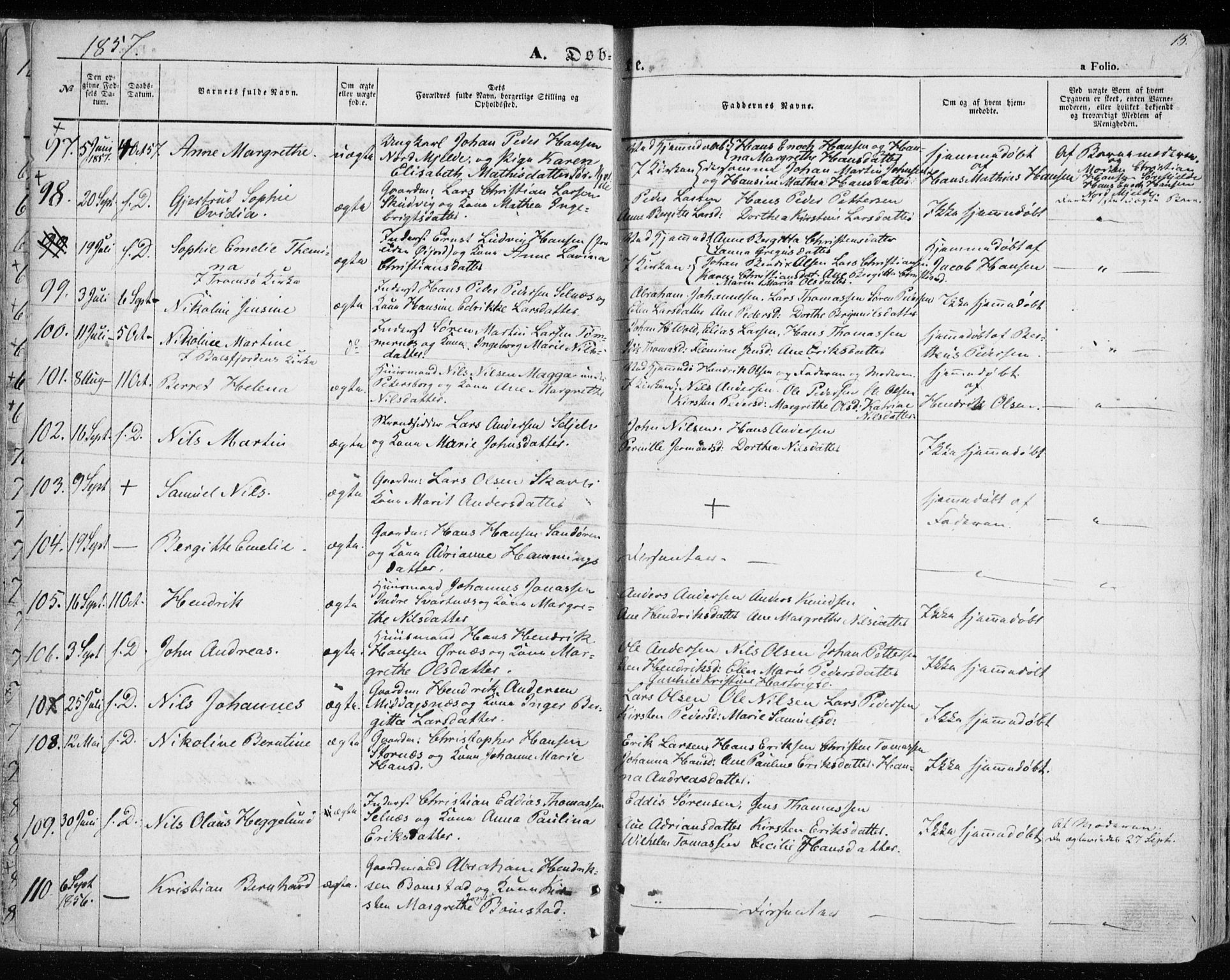 SATØ, Balsfjord sokneprestembete, Parish register (official) no. 3, 1856-1870, p. 15