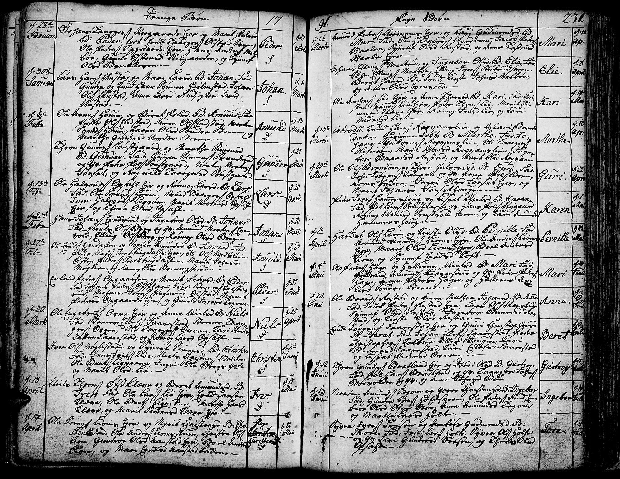 SAH, Gausdal prestekontor, Parish register (official) no. 3, 1758-1809, p. 231