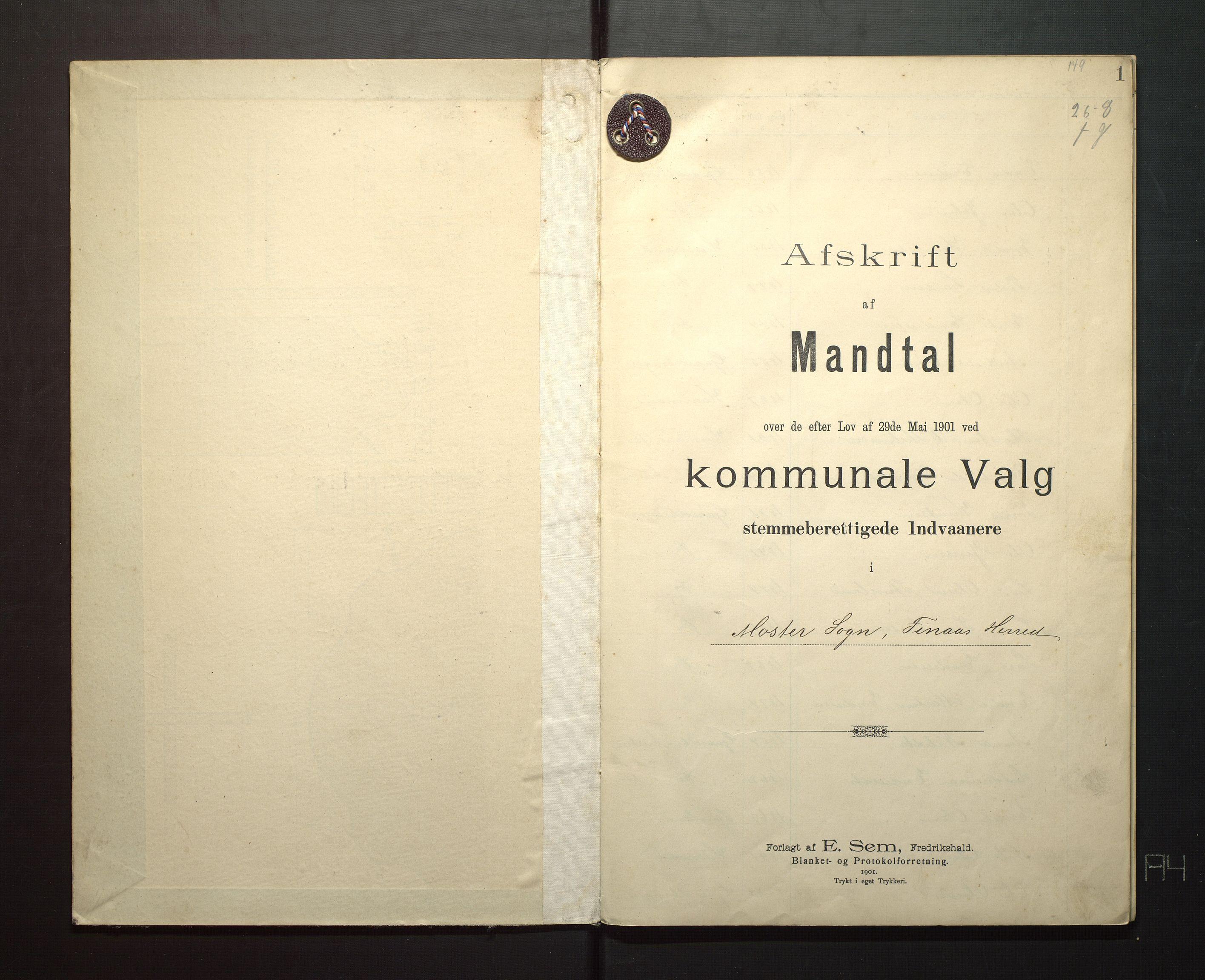 IKAH, Finnaas kommune. Valstyret, F/Fa/L0003: Manntal over røysteføre i Moster sokn, 1901, p. 1