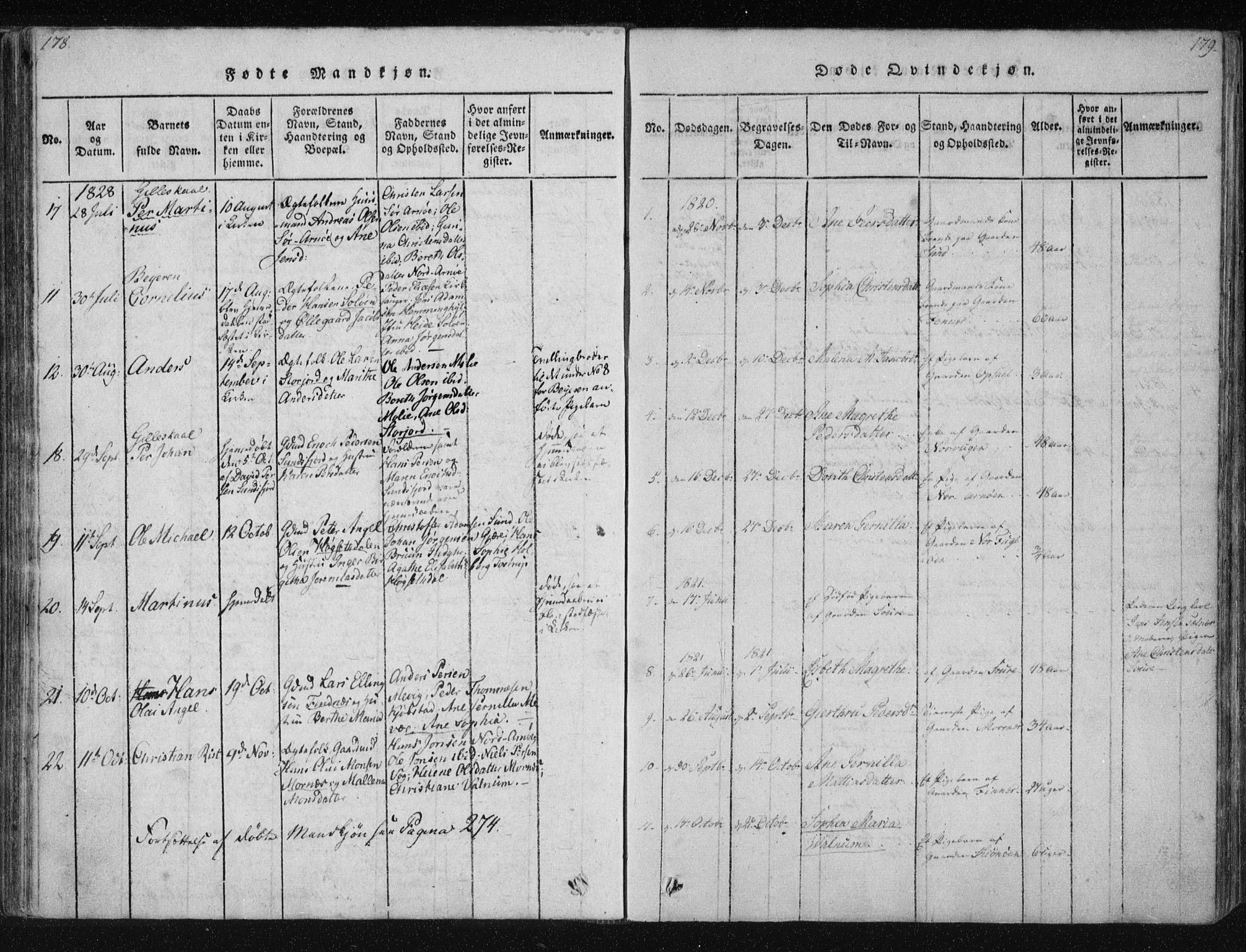 SAT, Ministerialprotokoller, klokkerbøker og fødselsregistre - Nordland, 805/L0096: Parish register (official) no. 805A03, 1820-1837, p. 178-179
