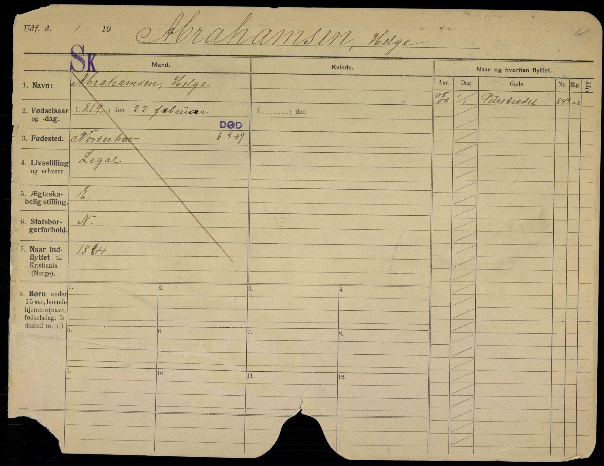 SAO, Oslo folkeregister, Registerkort, G/Gb/L0007: Menn, 1909