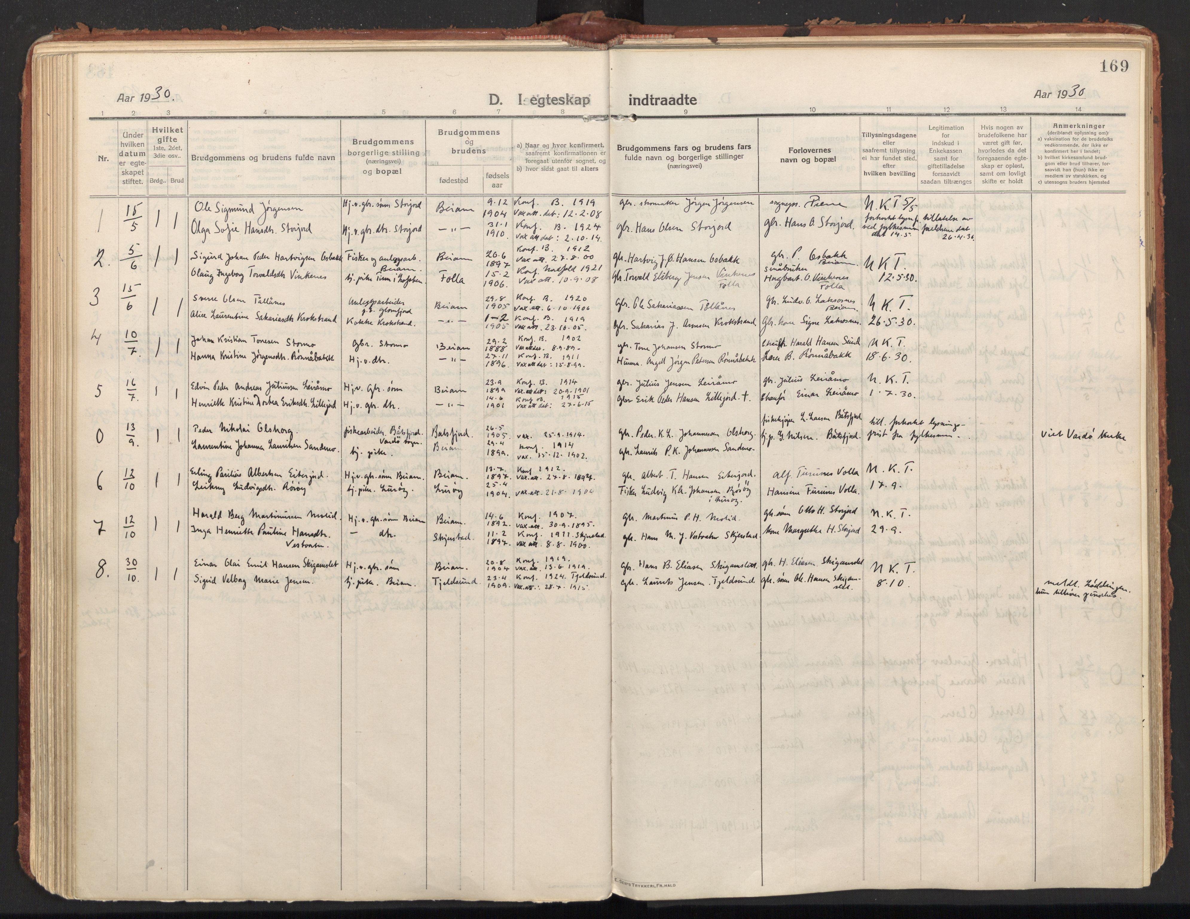 SAT, Ministerialprotokoller, klokkerbøker og fødselsregistre - Nordland, 846/L0650: Parish register (official) no. 846A08, 1916-1935, p. 169