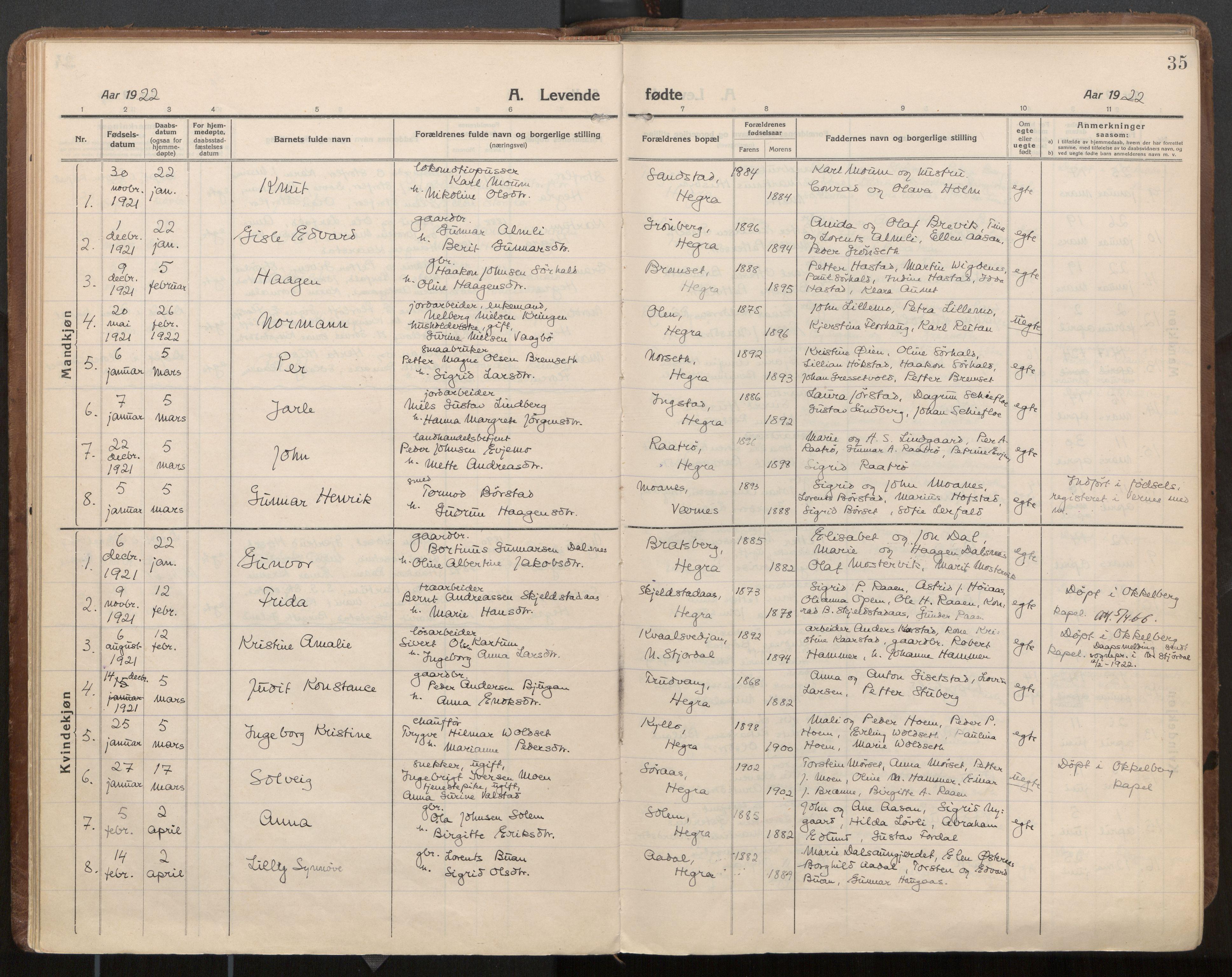 SAT, Ministerialprotokoller, klokkerbøker og fødselsregistre - Nord-Trøndelag, 703/L0037: Parish register (official) no. 703A10, 1915-1932, p. 35