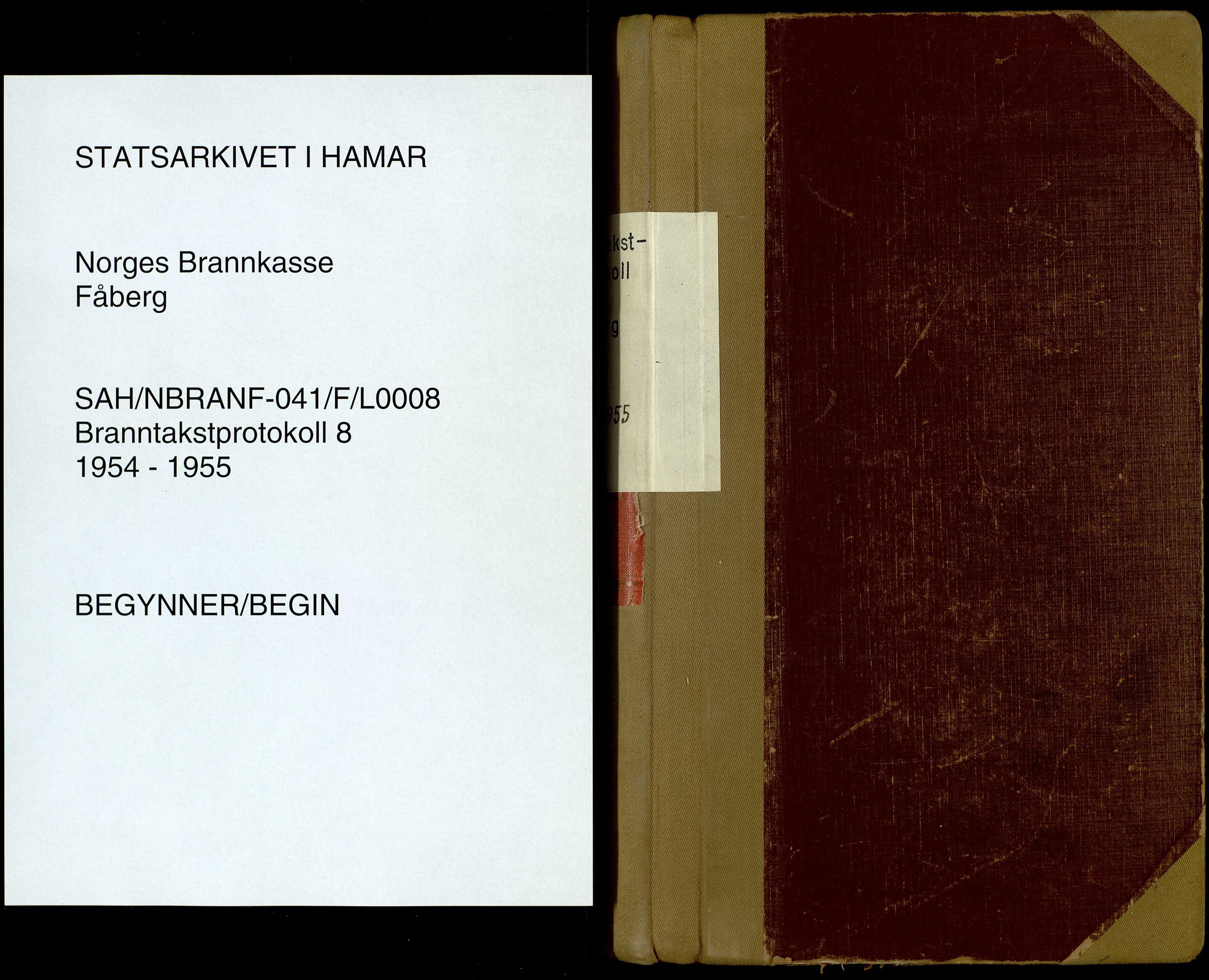 SAH, Norges Brannkasse, Fåberg, F/L0008: Branntakstprotokoll, 1954-1955