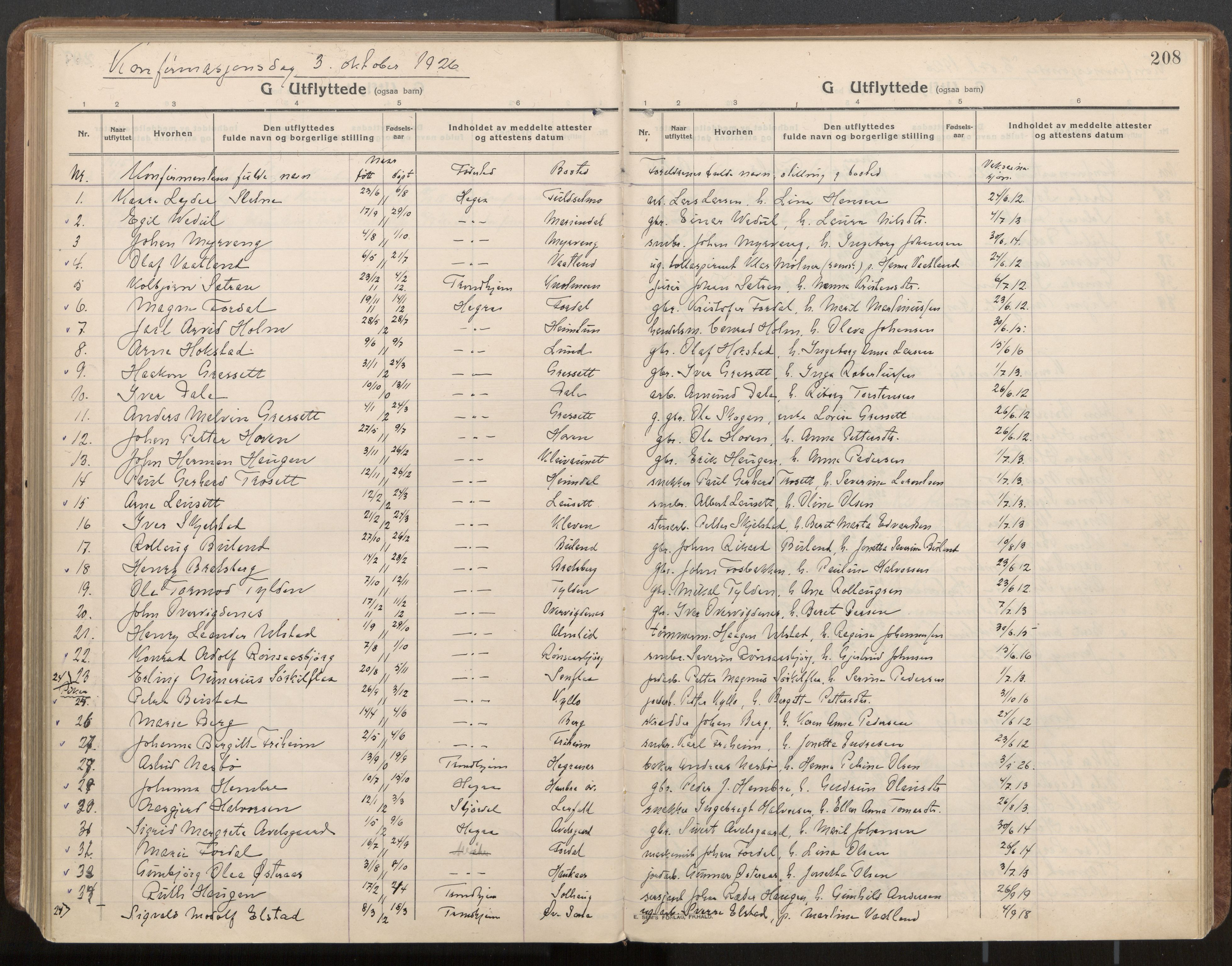 SAT, Ministerialprotokoller, klokkerbøker og fødselsregistre - Nord-Trøndelag, 703/L0037: Parish register (official) no. 703A10, 1915-1932, p. 208