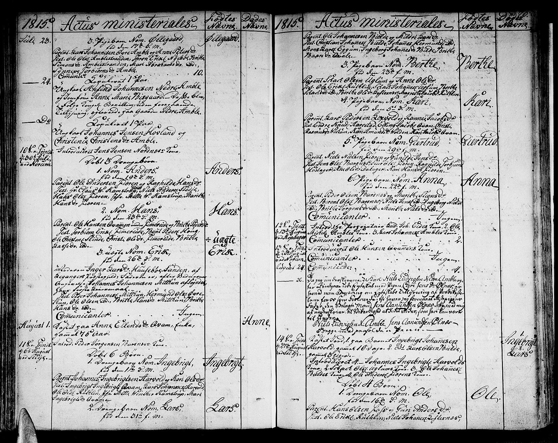 SAB, Sogndal sokneprestembete, H/Haa/Haaa/L0009: Parish register (official) no. A 9, 1809-1821, p. 70