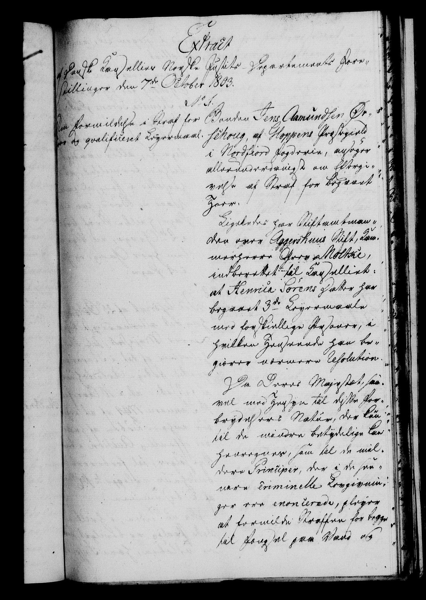 RA, Danske Kanselli 1800-1814, H/Hf/Hfa/Hfaa/L0004: Ekstrakt av forestillinger, 1803