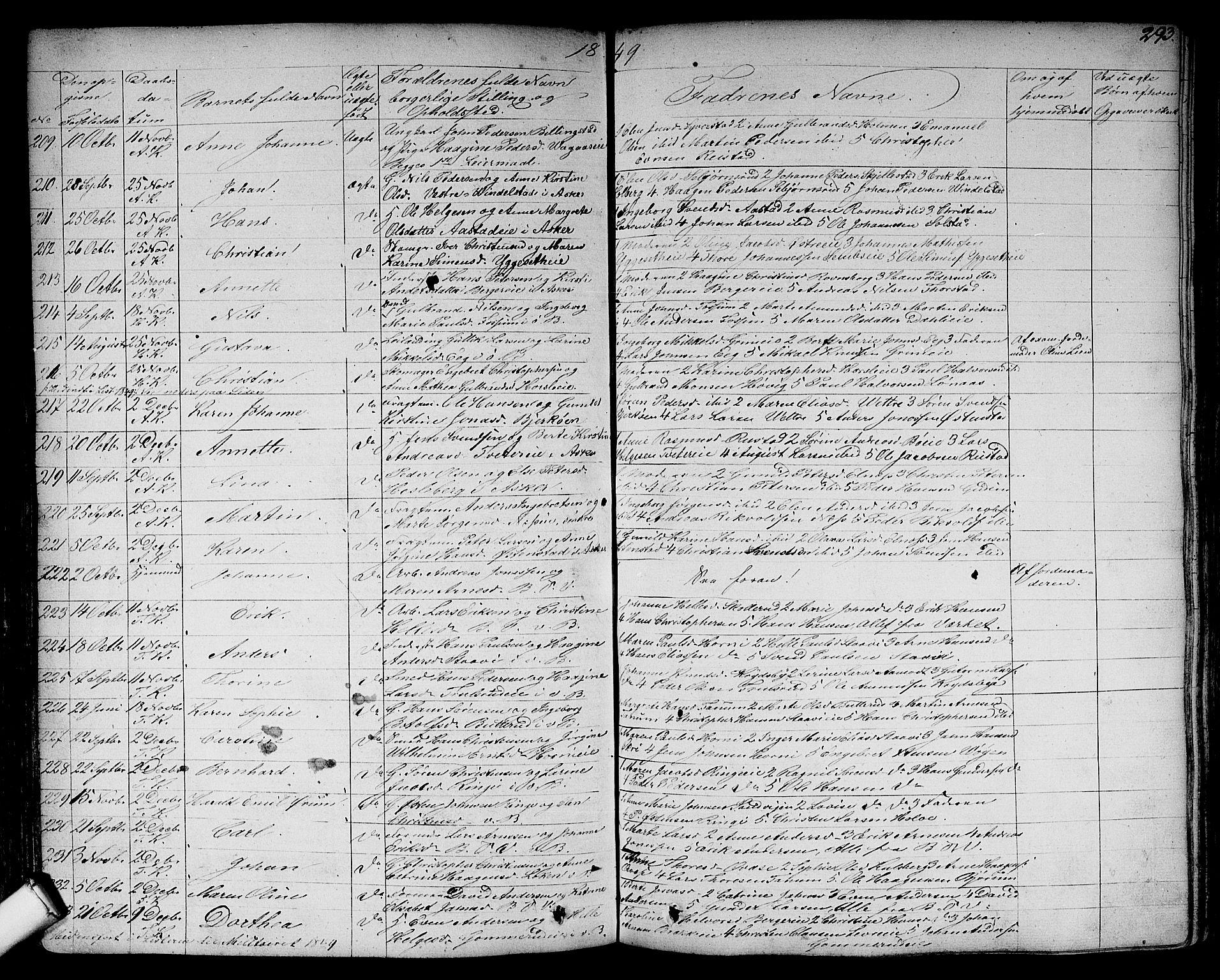 SAO, Asker prestekontor Kirkebøker, F/Fa/L0007: Parish register (official) no. I 7, 1825-1864, p. 293