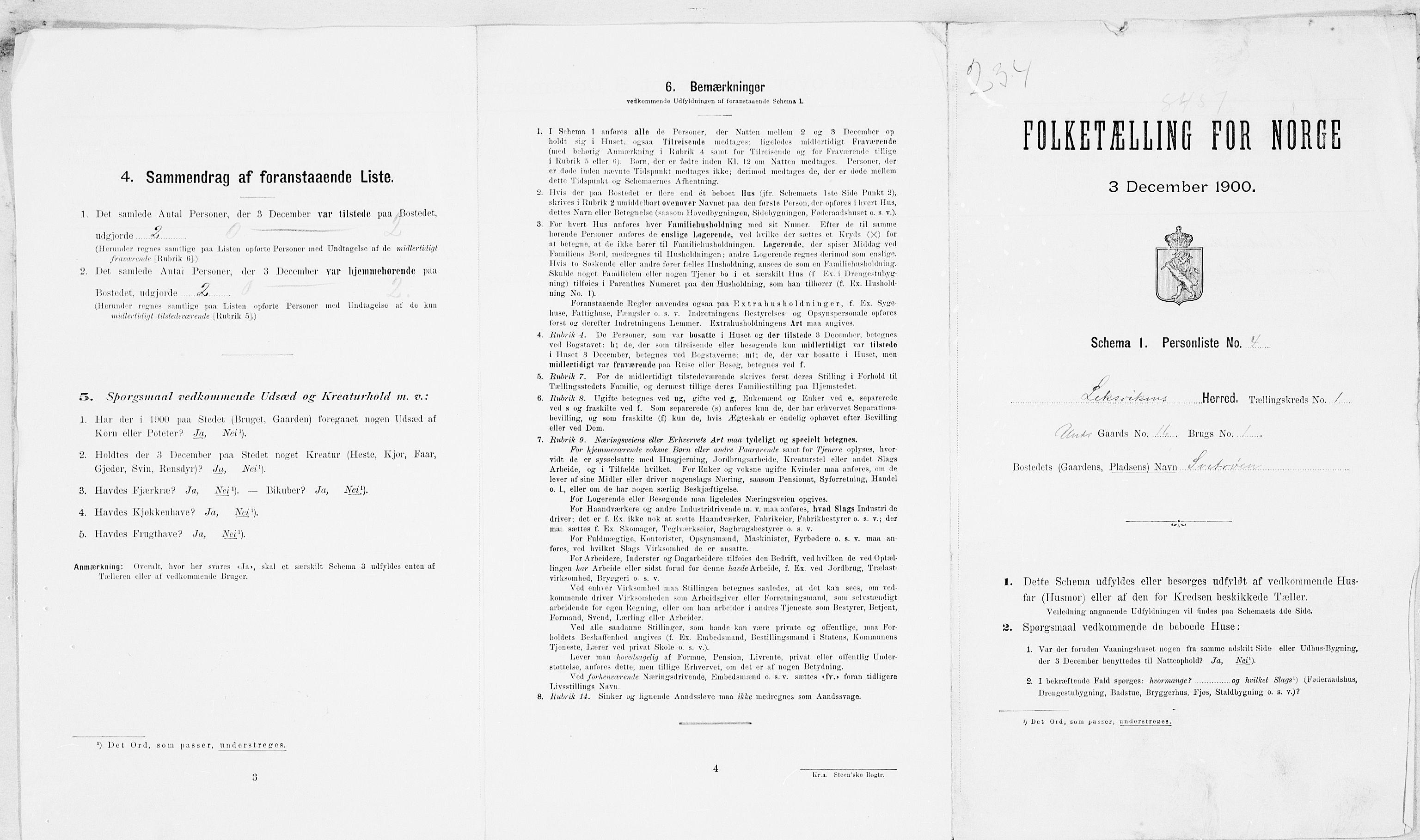 SAT, 1900 census for Leksvik, 1900, p. 22