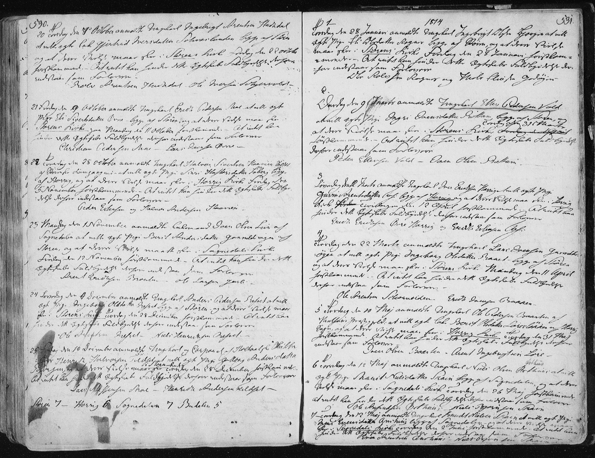 SAT, Ministerialprotokoller, klokkerbøker og fødselsregistre - Sør-Trøndelag, 687/L0992: Parish register (official) no. 687A03 /1, 1788-1815, p. 530-531