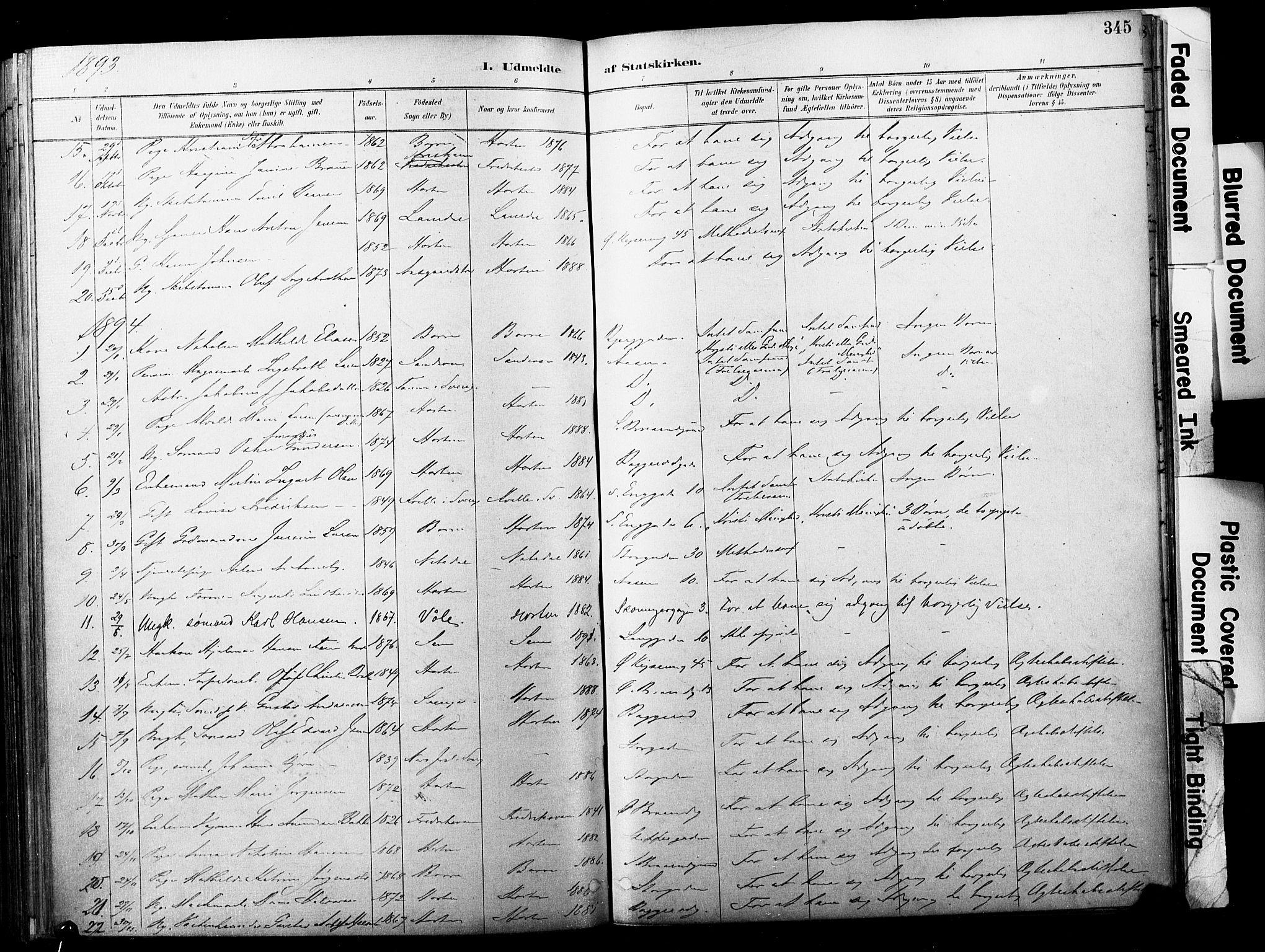 SAKO, Horten kirkebøker, F/Fa/L0004: Parish register (official) no. 4, 1888-1895, p. 345