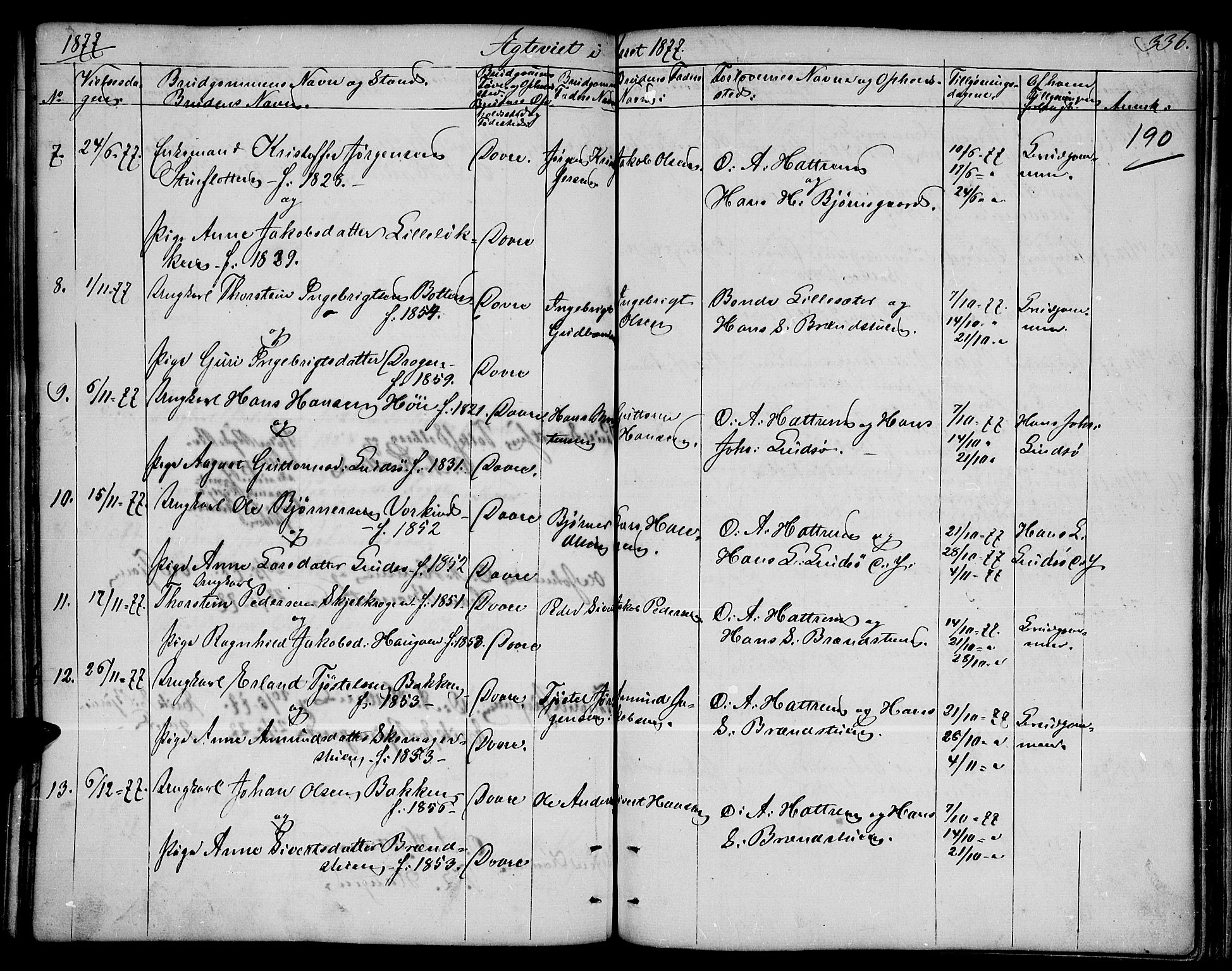 SAH, Dovre prestekontor, Parish register (copy) no. 1, 1862-1880, p. 336