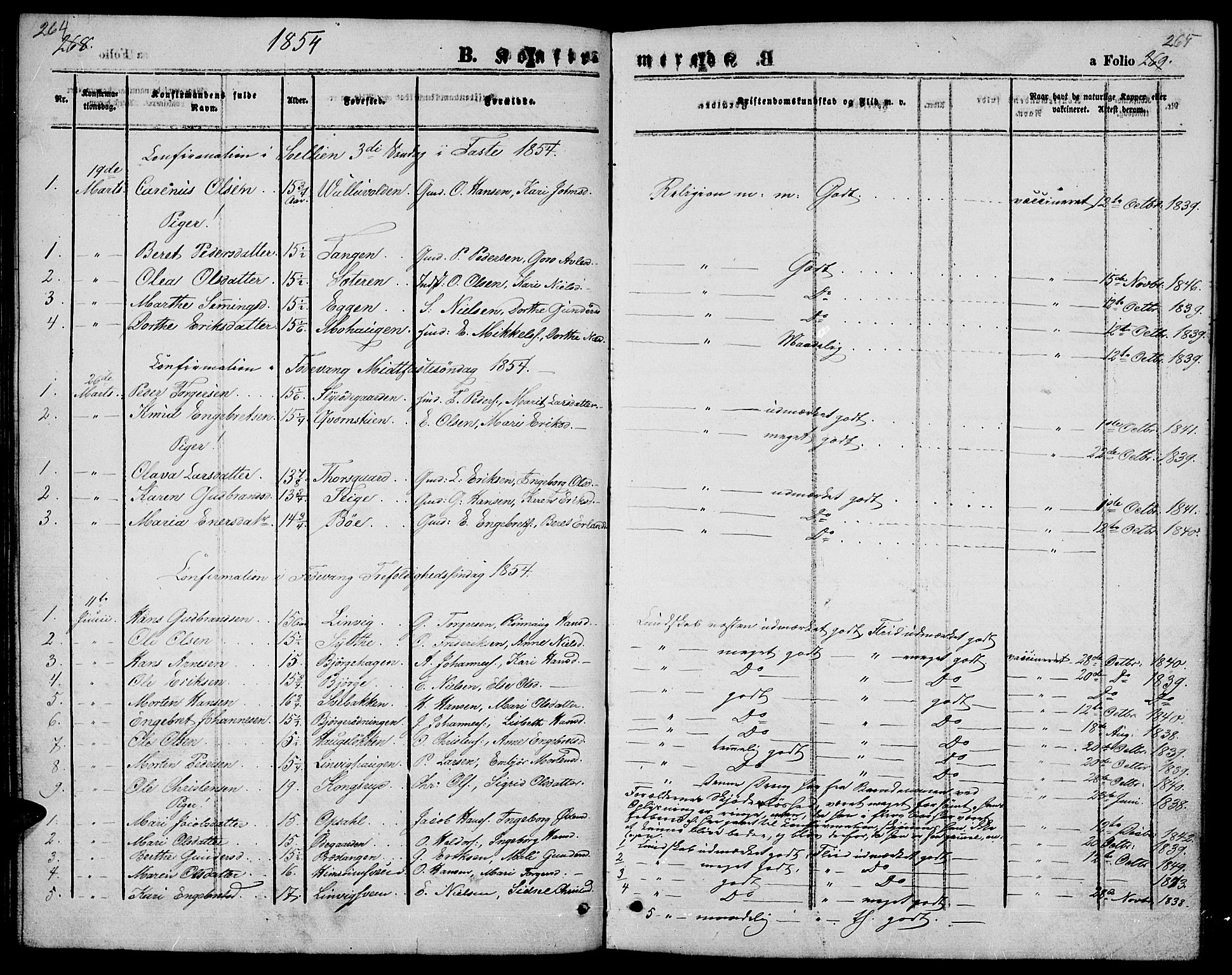 SAH, Ringebu prestekontor, Parish register (copy) no. 3, 1854-1866, p. 264-265