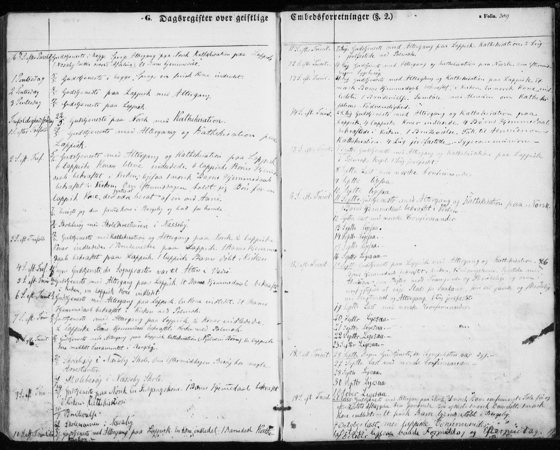 SATØ, Nesseby sokneprestkontor, H/Ha/L0002kirke: Parish register (official) no. 2, 1856-1864, p. 309