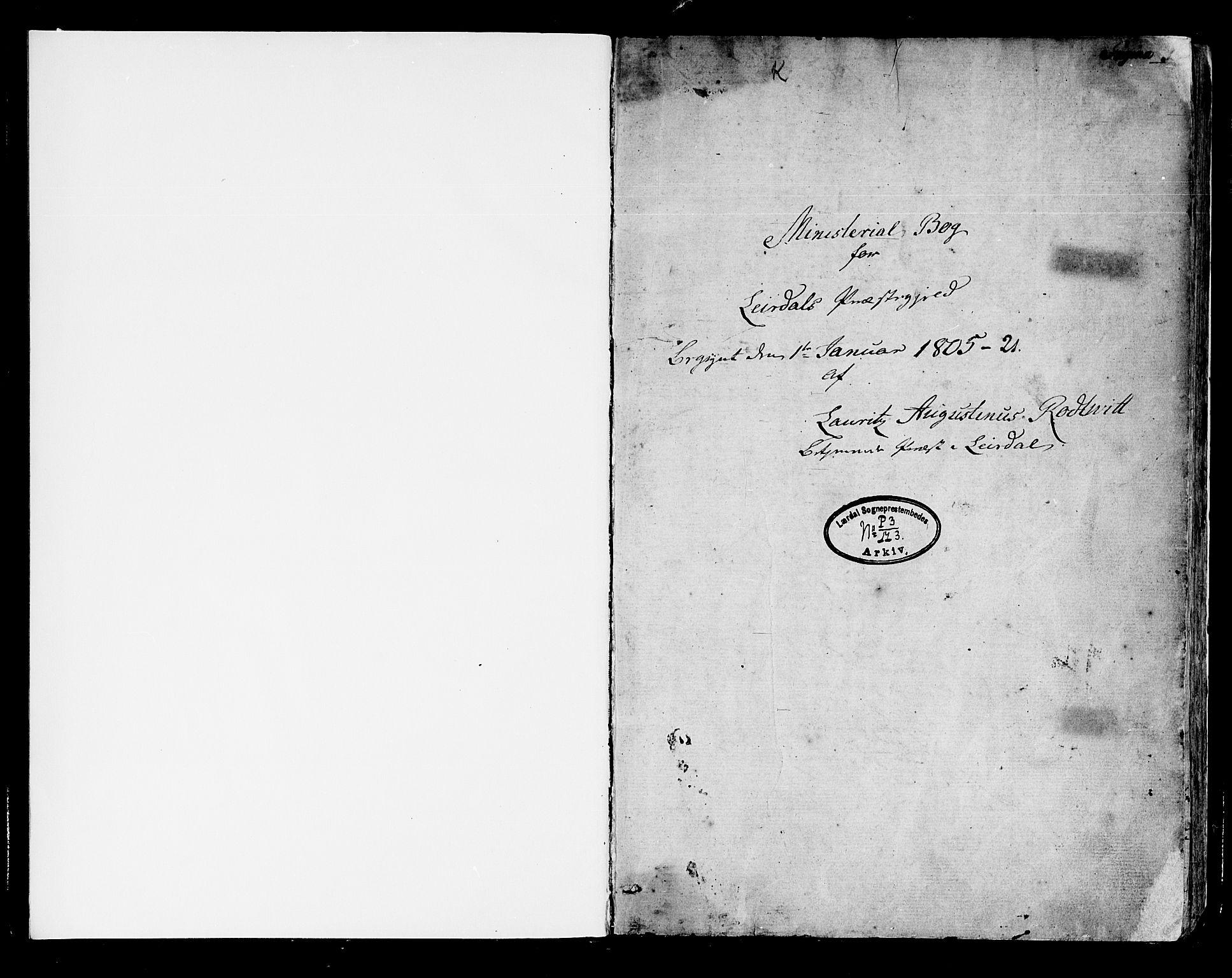 SAB, Lærdal sokneprestembete, Parish register (official) no. A 4, 1805-1821, p. 0-1