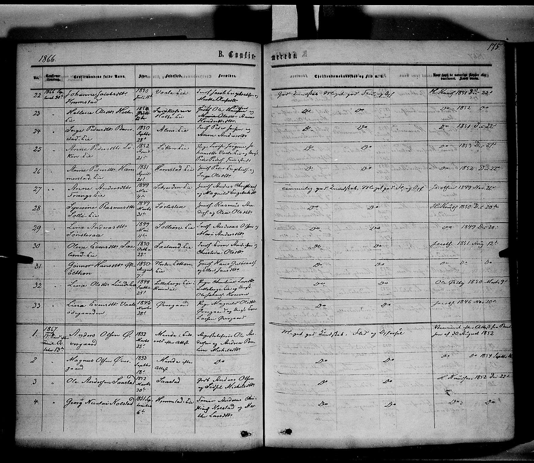 SAH, Stange prestekontor, K/L0013: Parish register (official) no. 13, 1862-1879, p. 175