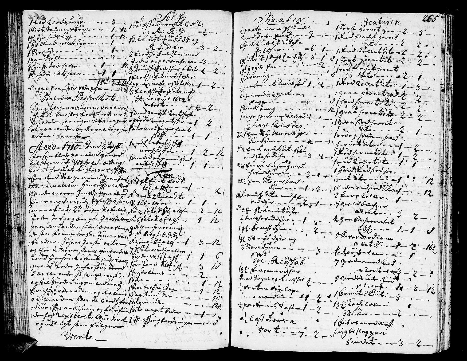 SAT, Romsdal sorenskriveri, 3/3A/L0005: Skifteprotokoll, 1707-1711, p. 264b-265a