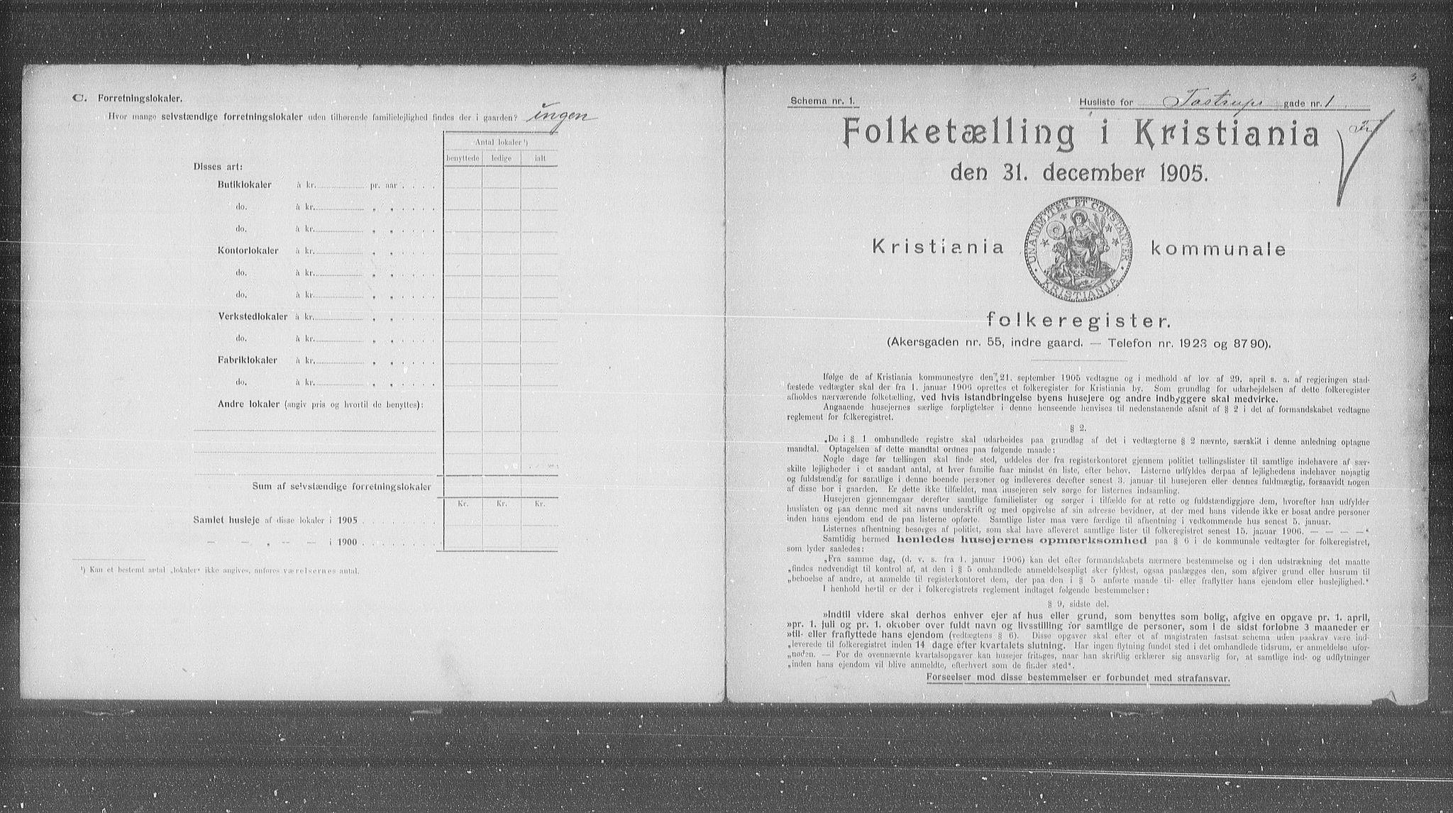 OBA, Municipal Census 1905 for Kristiania, 1905, p. 60476