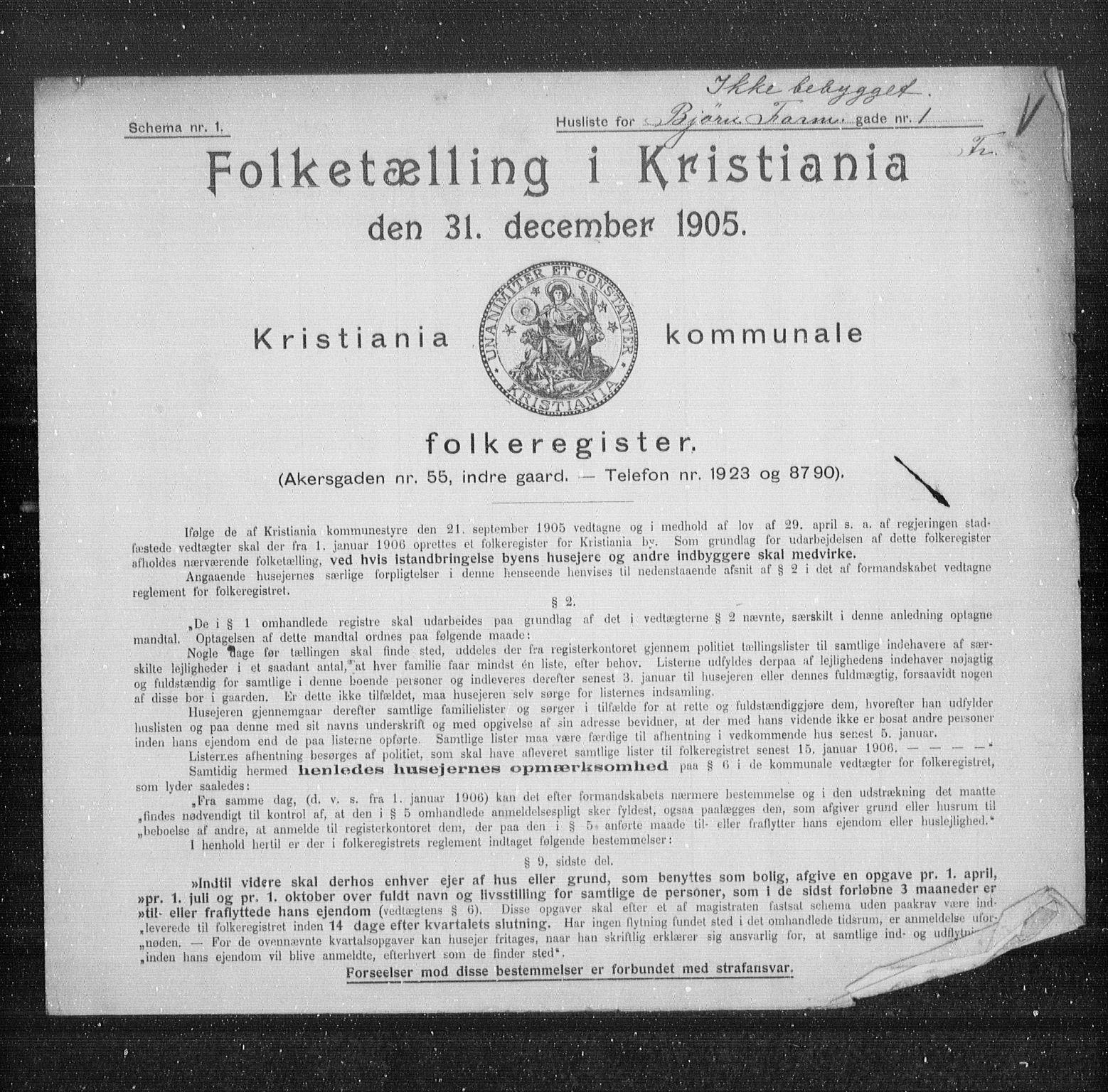 OBA, Municipal Census 1905 for Kristiania, 1905, p. 3358