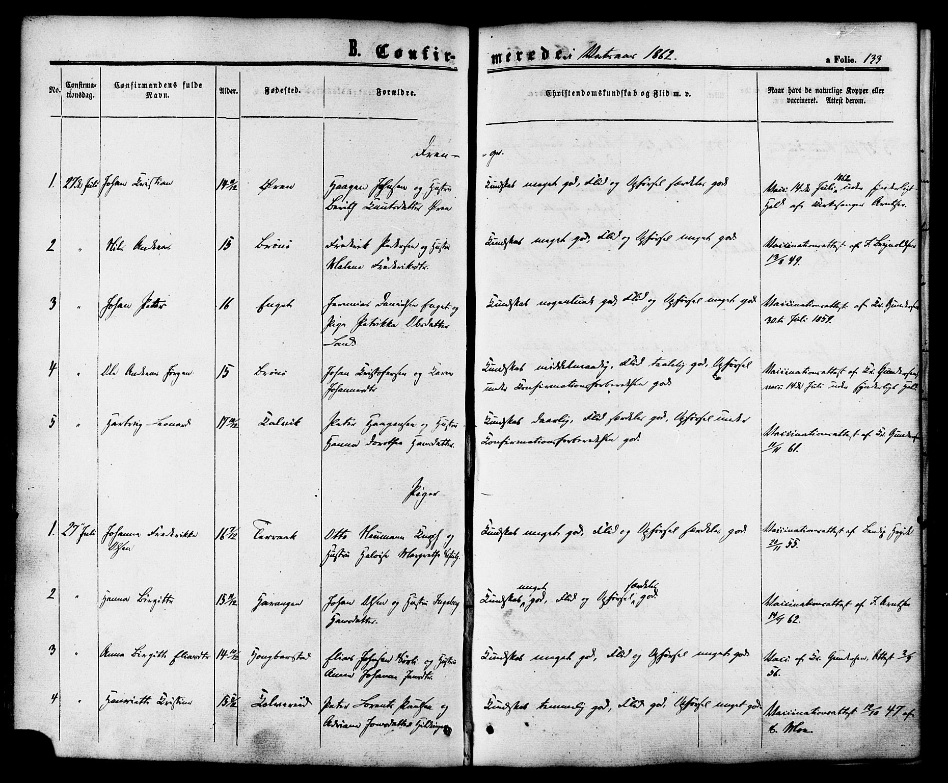 SAT, Ministerialprotokoller, klokkerbøker og fødselsregistre - Nordland, 810/L0146: Parish register (official) no. 810A08 /1, 1862-1874, p. 133