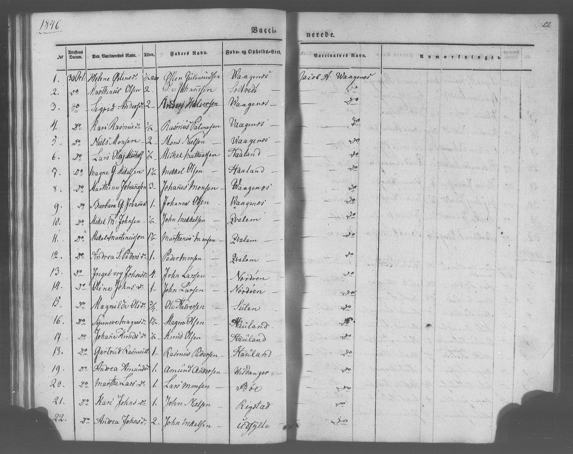 SAB, Manger sokneprestembete, H/Haa: Parish register (official) no. A 10, 1844-1859, p. 22