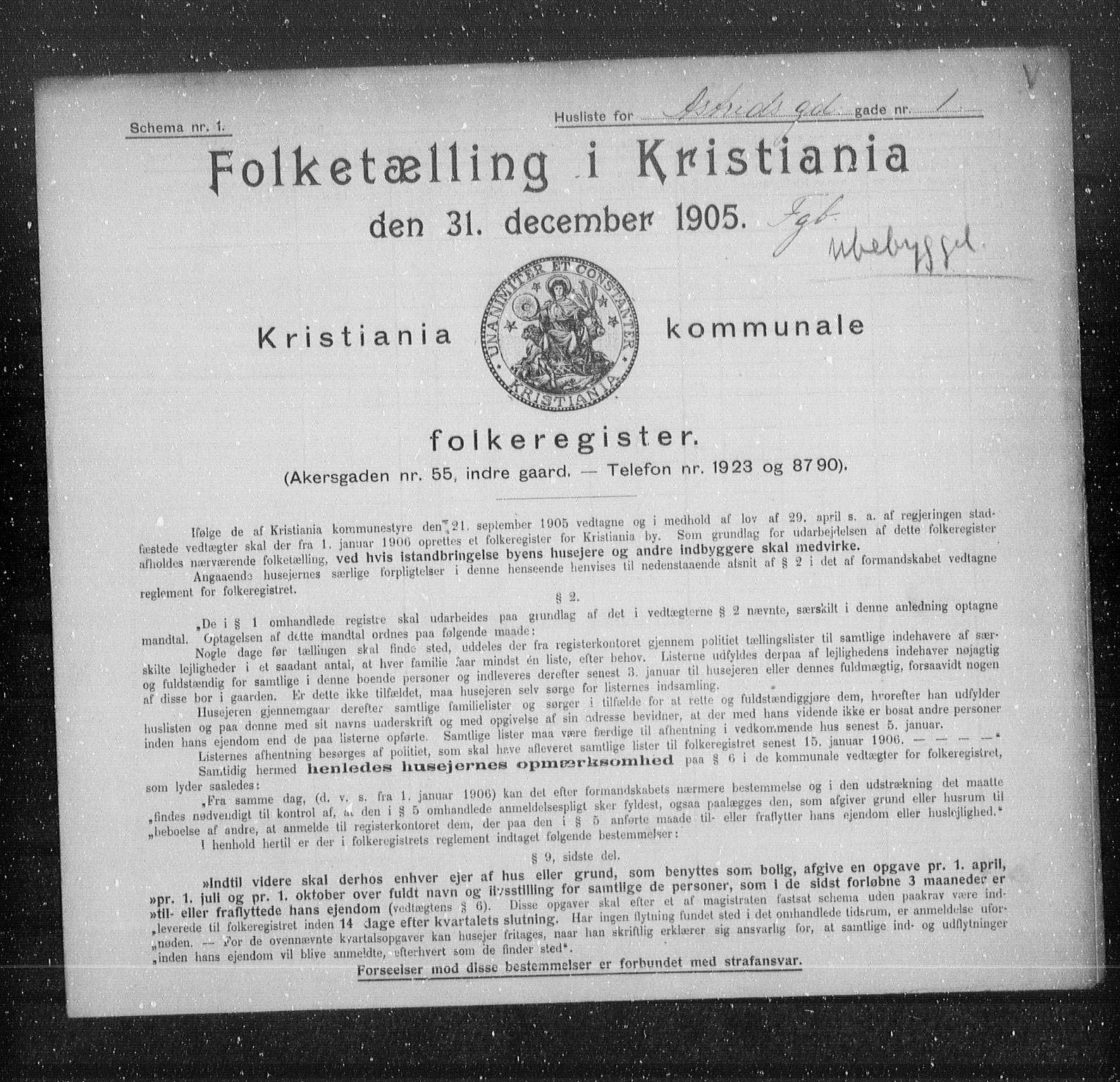 OBA, Municipal Census 1905 for Kristiania, 1905, p. 1299