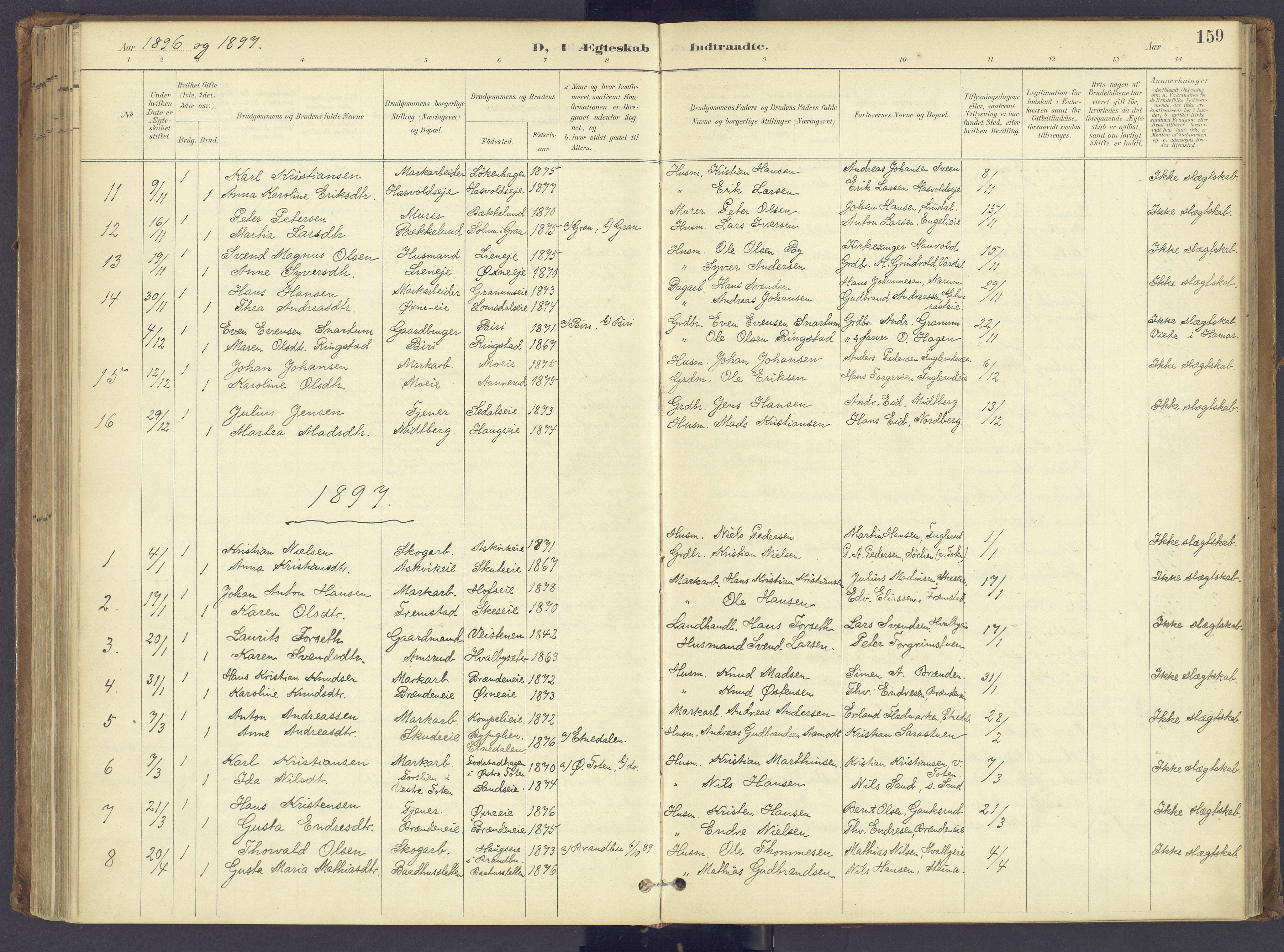 SAH, Søndre Land prestekontor, K/L0006: Parish register (official) no. 6, 1895-1904, p. 159