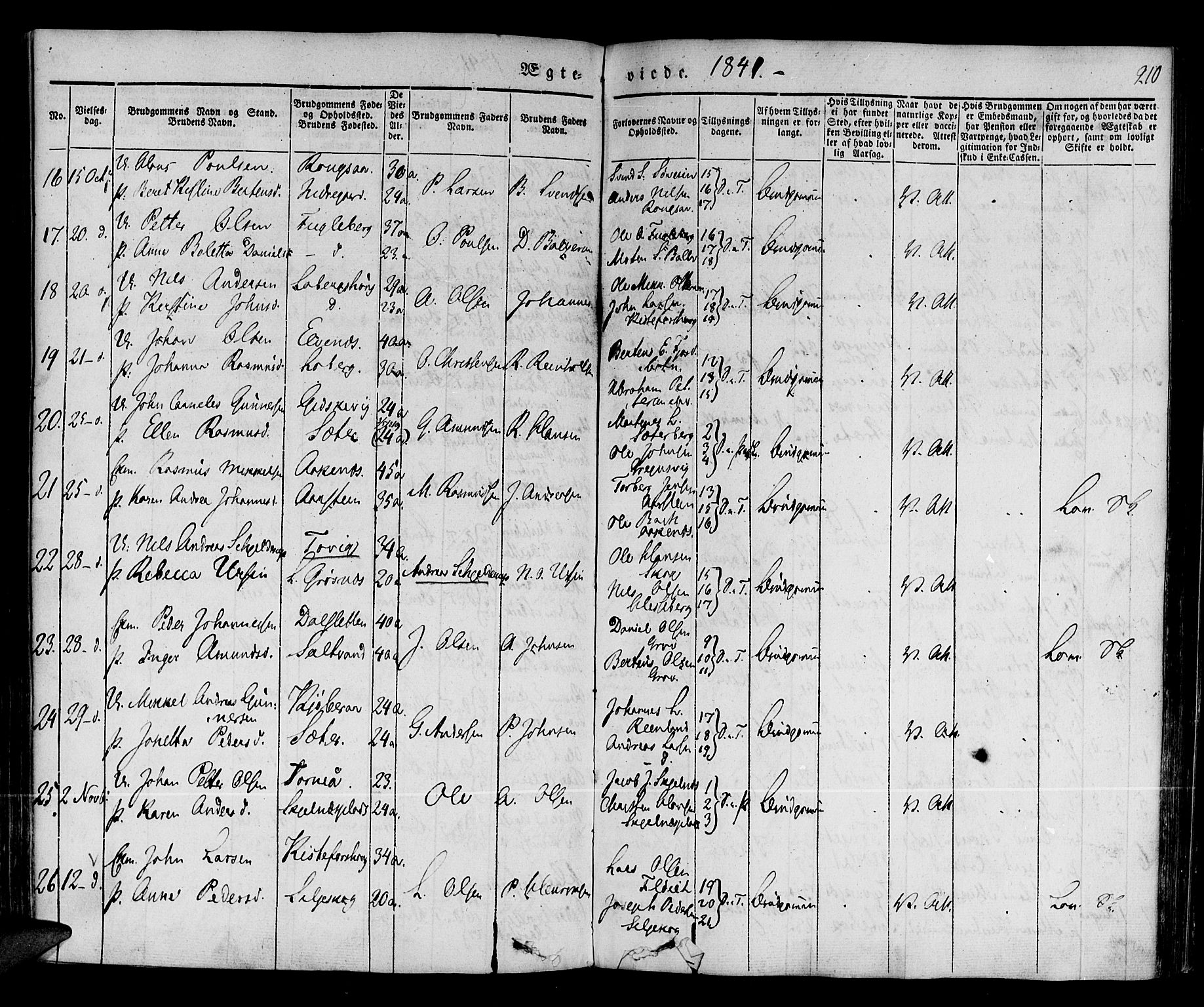 SATØ, Ibestad sokneprestembete, Parish register (official) no. 6, 1837-1850, p. 210
