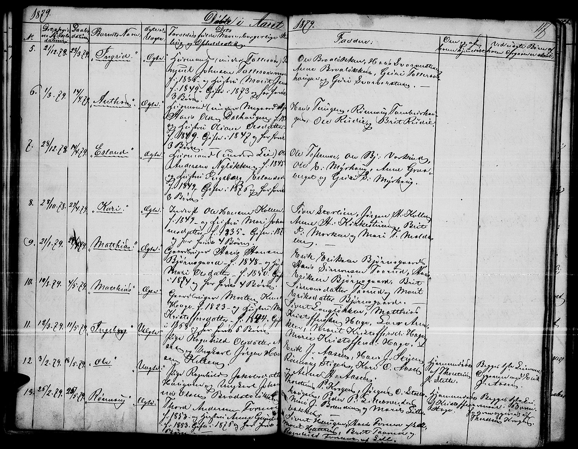 SAH, Dovre prestekontor, Parish register (copy) no. 1, 1862-1880, p. 117