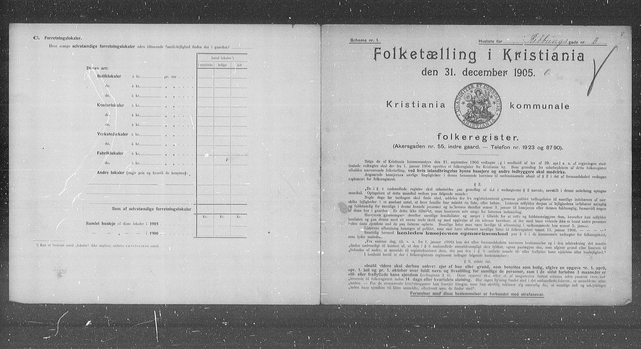 OBA, Municipal Census 1905 for Kristiania, 1905, p. 43675