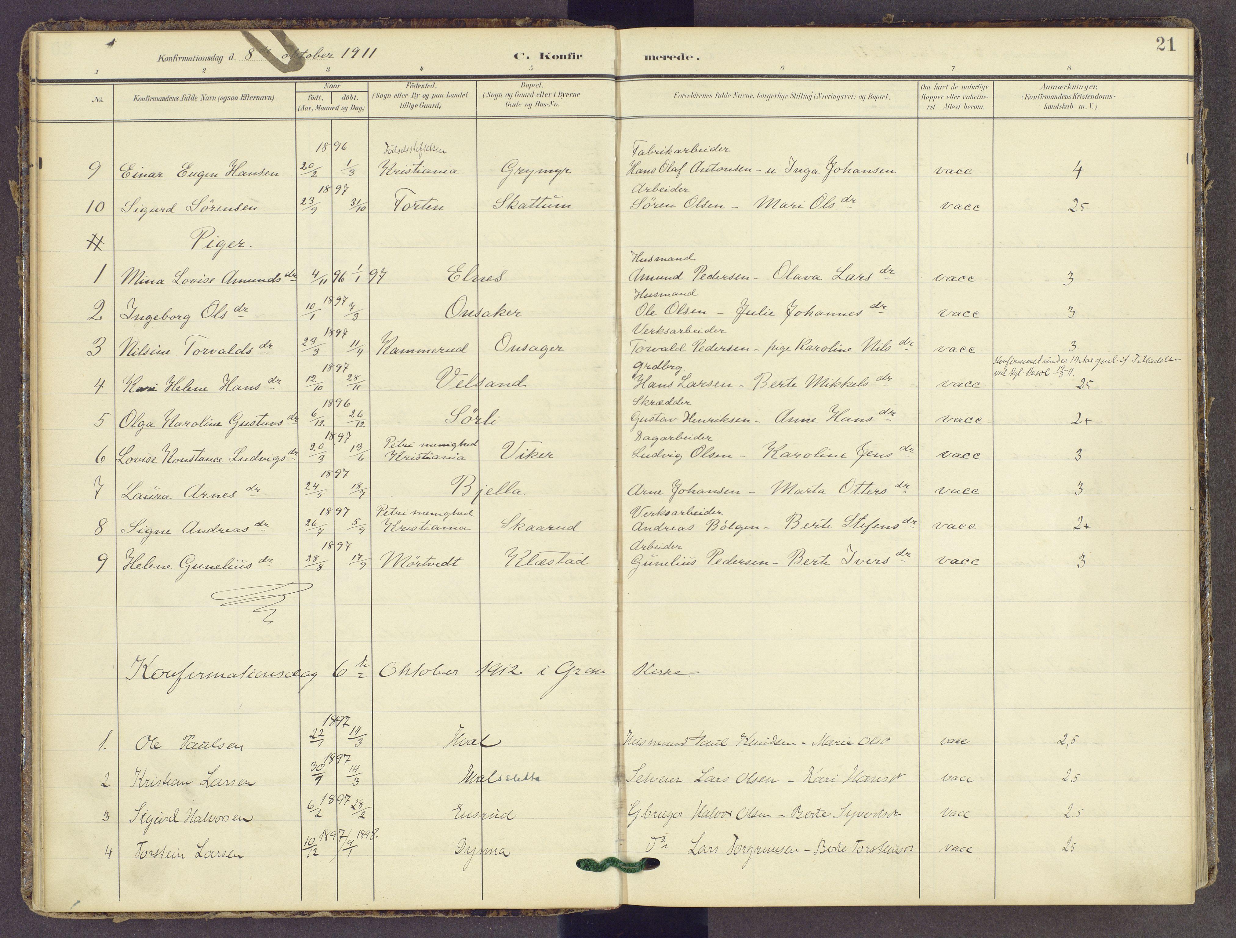 SAH, Gran prestekontor, Parish register (official) no. 22, 1908-1918, p. 21
