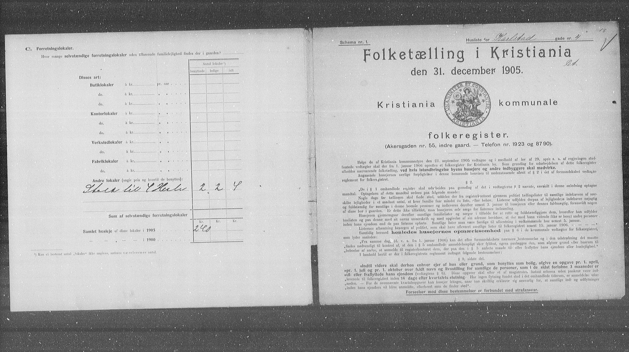 OBA, Municipal Census 1905 for Kristiania, 1905, p. 25505