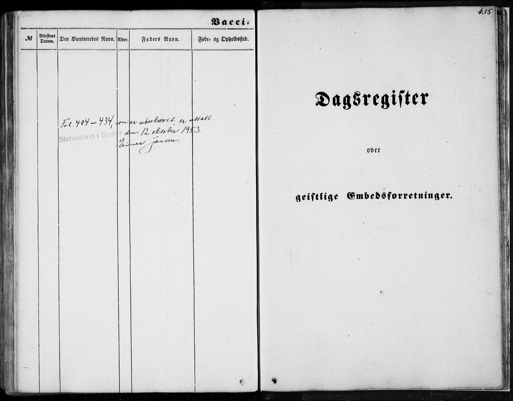 SAB, Os sokneprestembete*, Parish register (official) no. A 16, 1851-1859, p. 435