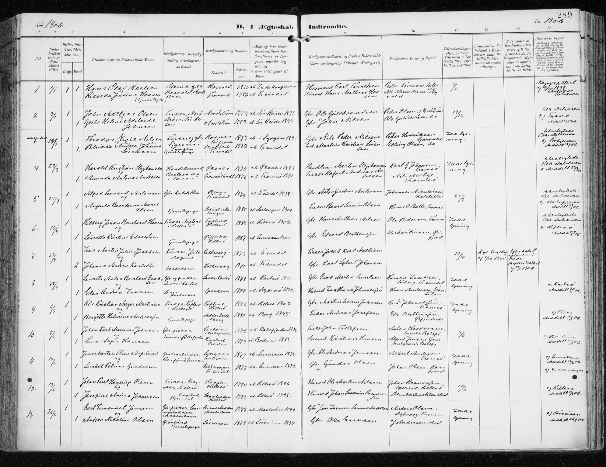 SATØ, Tromsøysund sokneprestkontor, G/Ga/L0006kirke: Parish register (official) no. 6, 1897-1906, p. 289