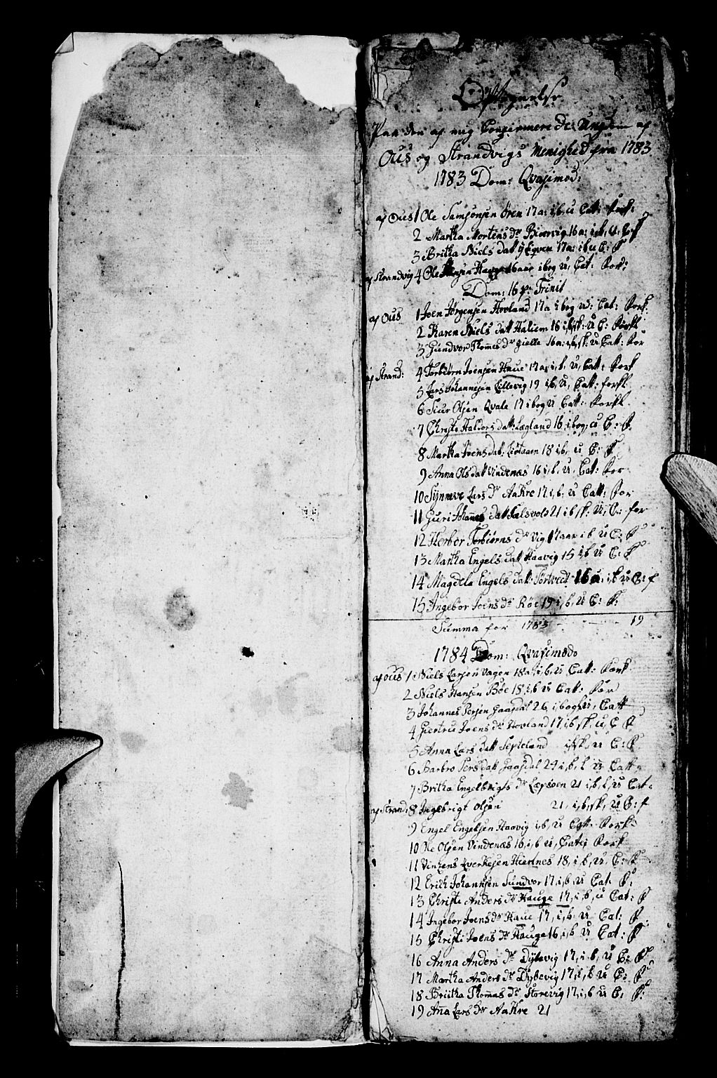 SAB, Os sokneprestembete*, Parish register (official) no. A 13, 1783-1810, p. 0-1