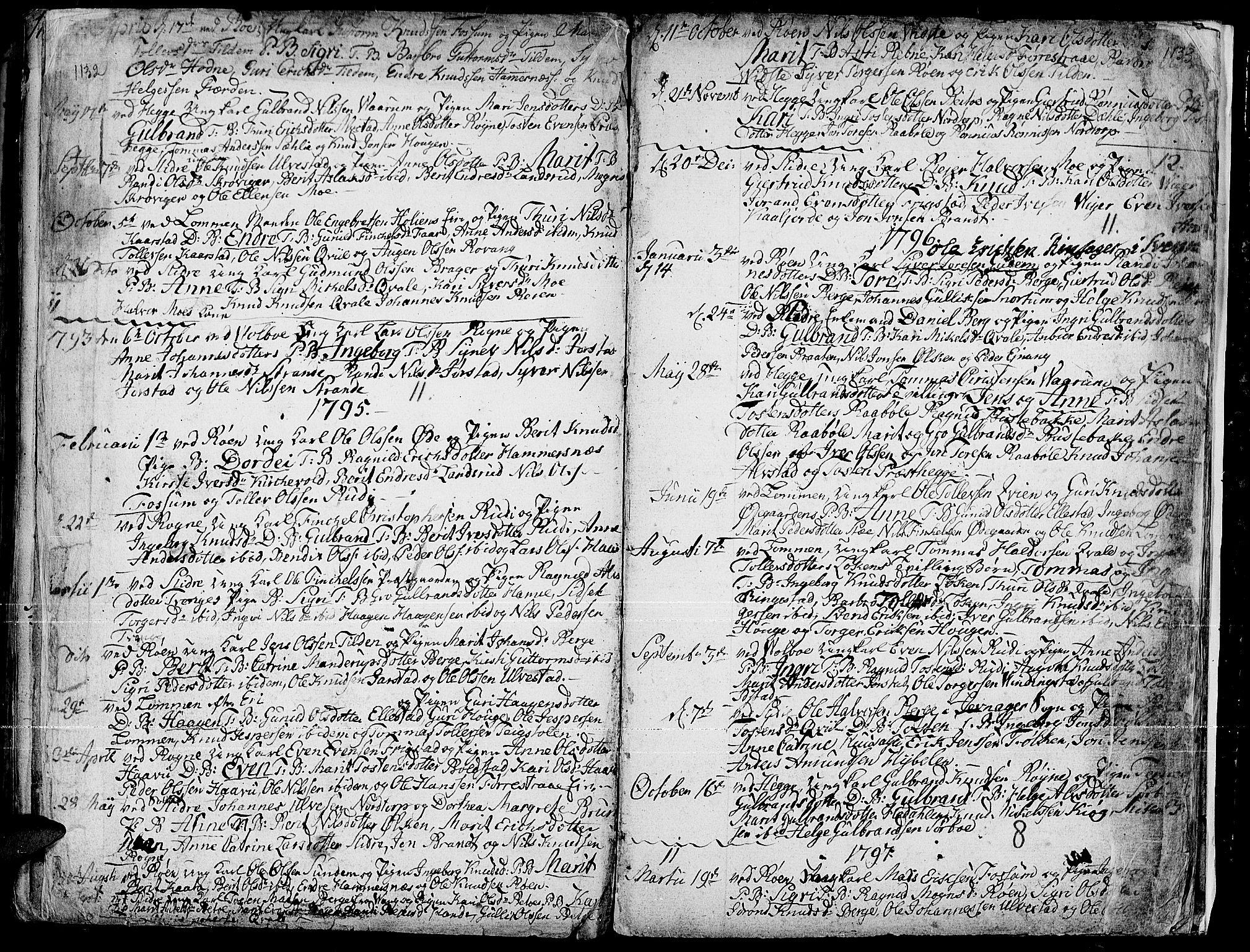 SAH, Slidre prestekontor, Parish register (official) no. 1, 1724-1814, p. 1132-1133