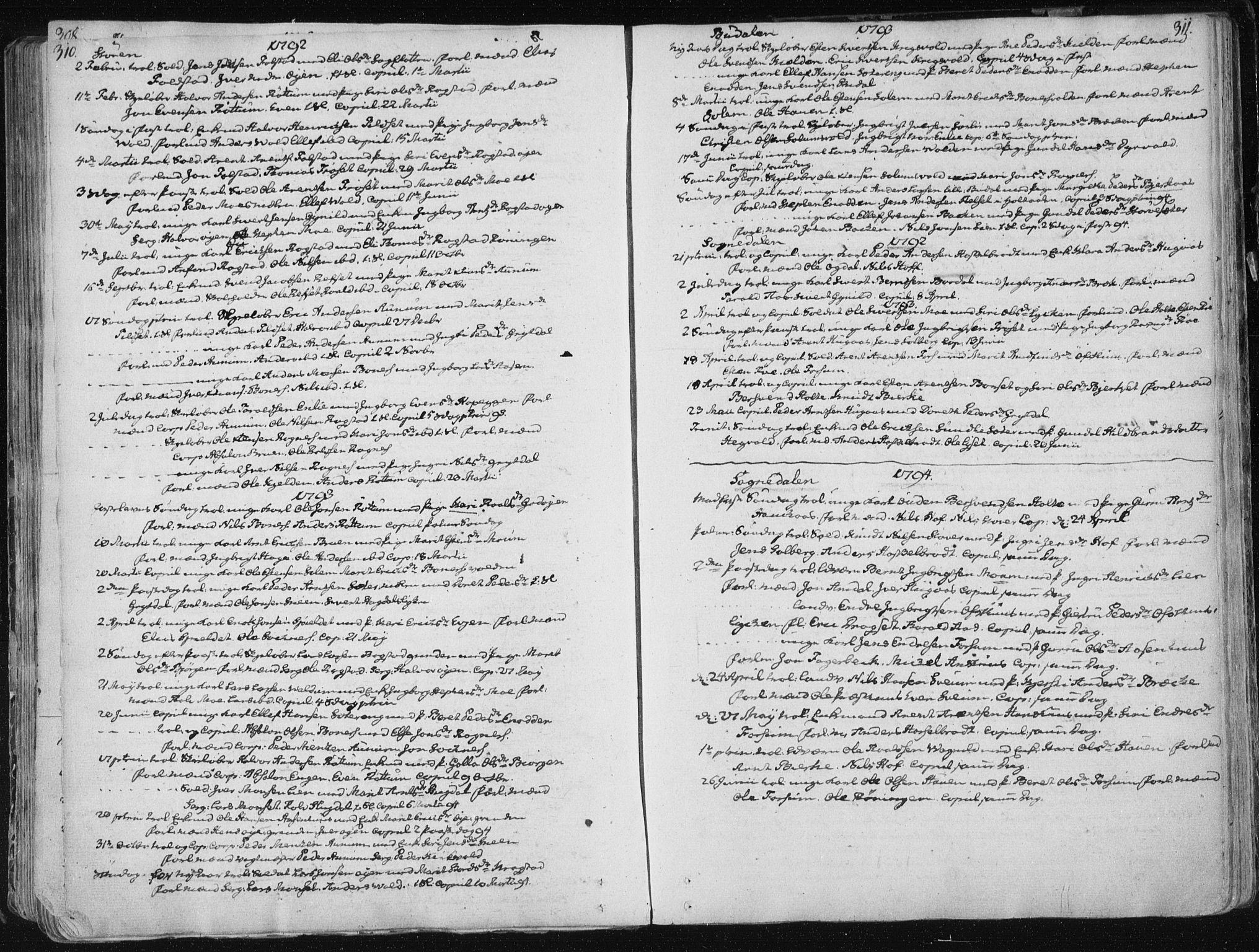 SAT, Ministerialprotokoller, klokkerbøker og fødselsregistre - Sør-Trøndelag, 687/L0992: Parish register (official) no. 687A03 /1, 1788-1815, p. 310-311