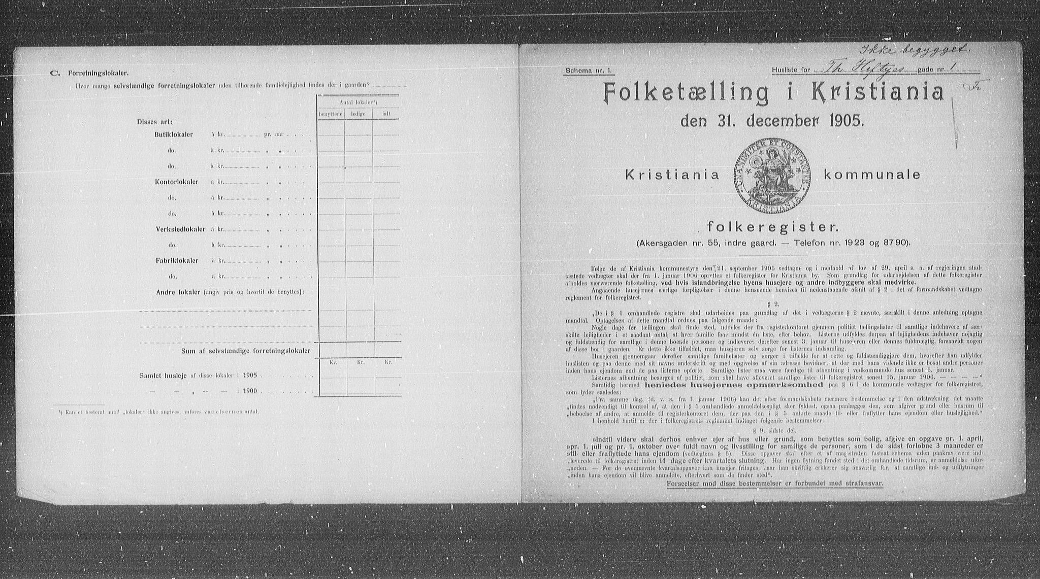 OBA, Municipal Census 1905 for Kristiania, 1905, p. 57009