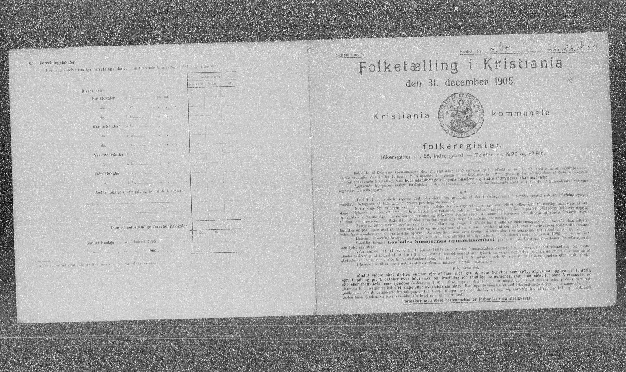 OBA, Municipal Census 1905 for Kristiania, 1905, p. 34354