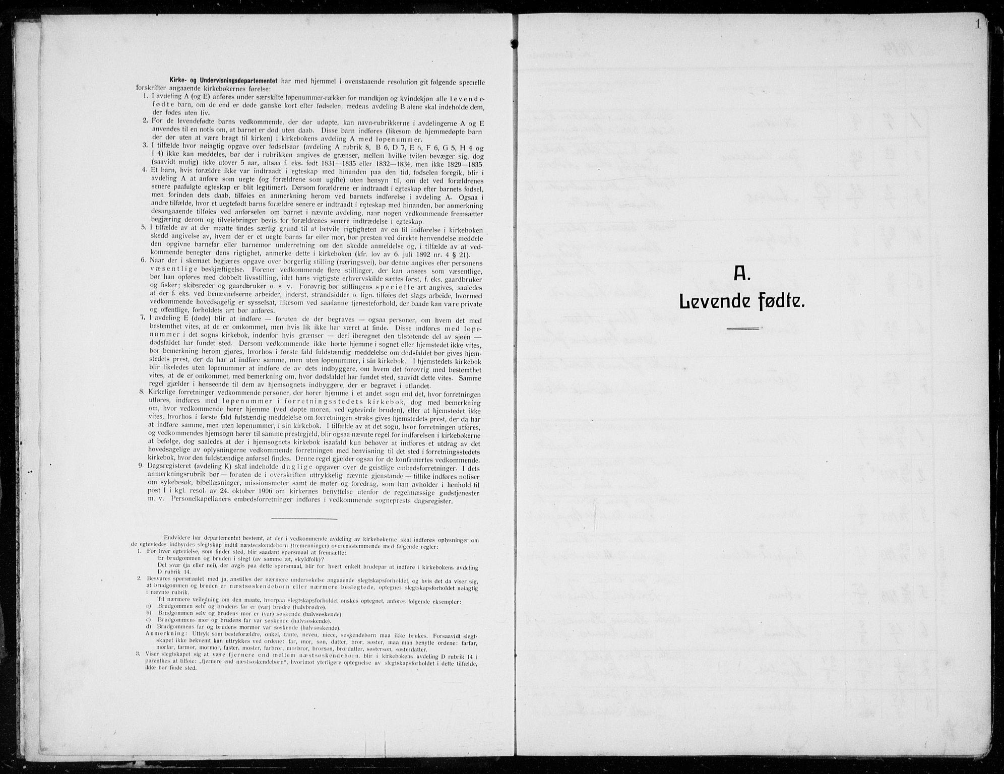 SAB, Tysnes sokneprestembete, H/Hab: Parish register (copy) no. E  4, 1912-1936, p. 1