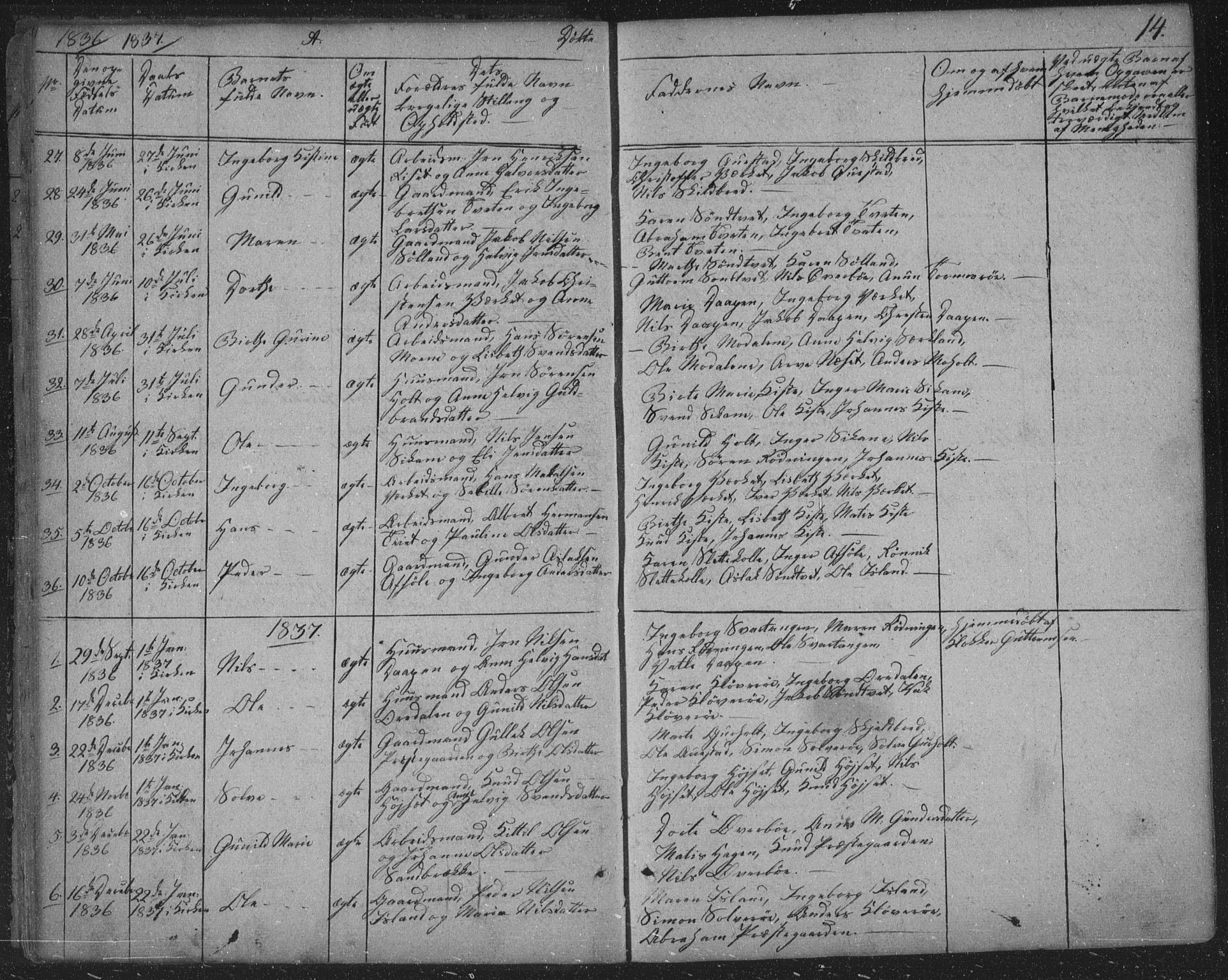 SAKO, Siljan kirkebøker, F/Fa/L0001: Parish register (official) no. 1, 1831-1870, p. 14