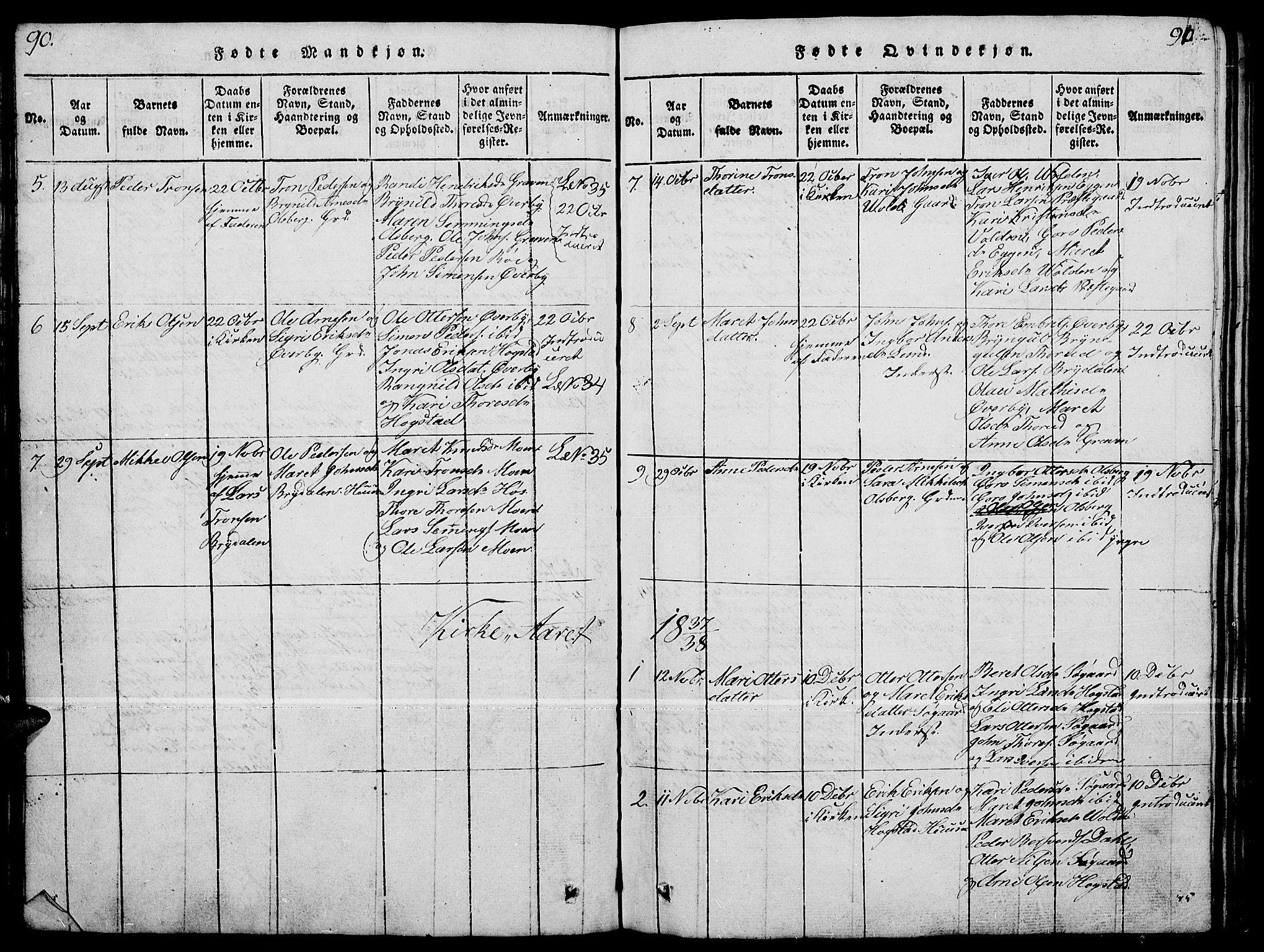 SAH, Tynset prestekontor, Parish register (copy) no. 4, 1814-1879, p. 90-91