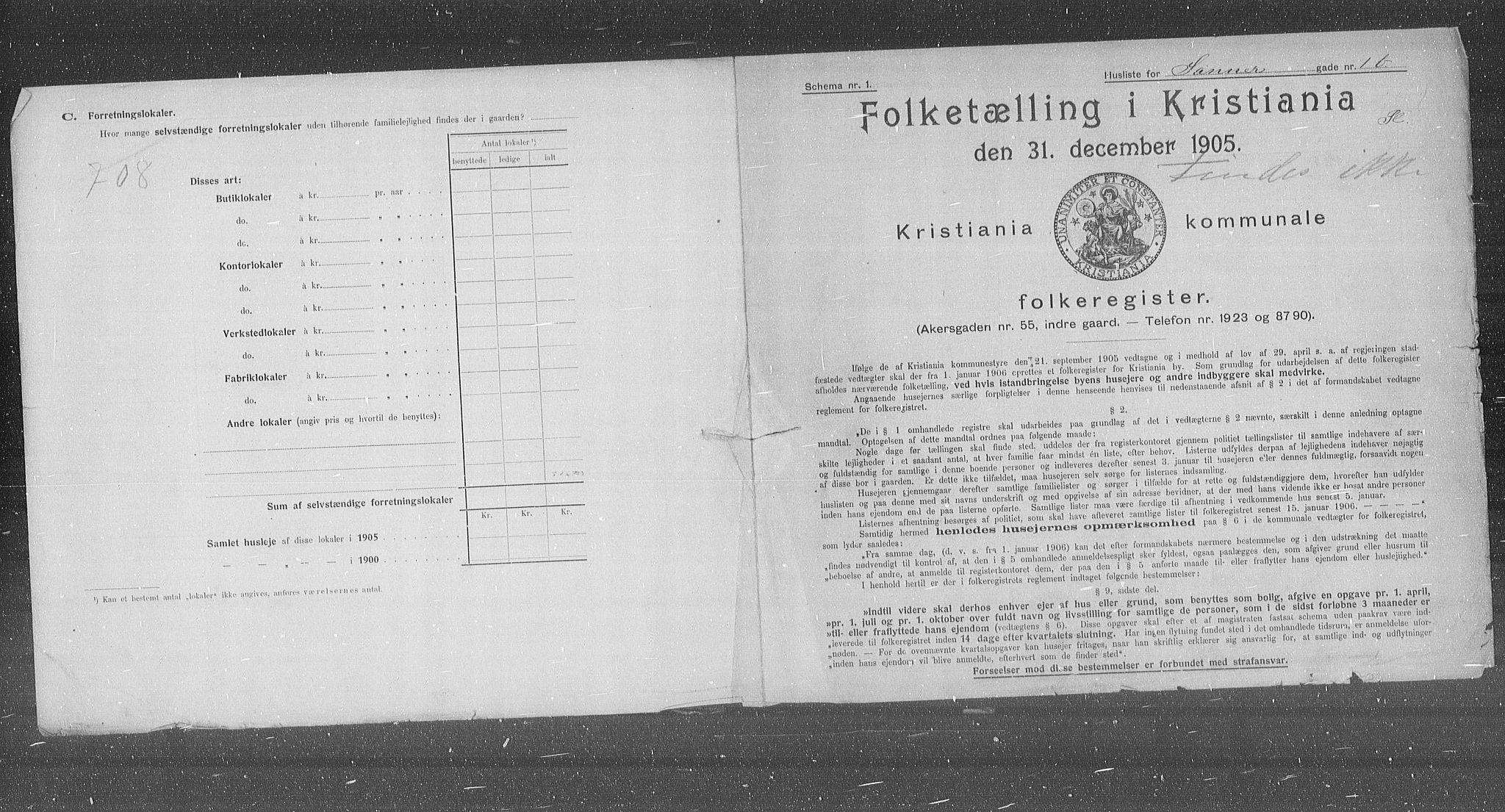 OBA, Municipal Census 1905 for Kristiania, 1905, p. 46016